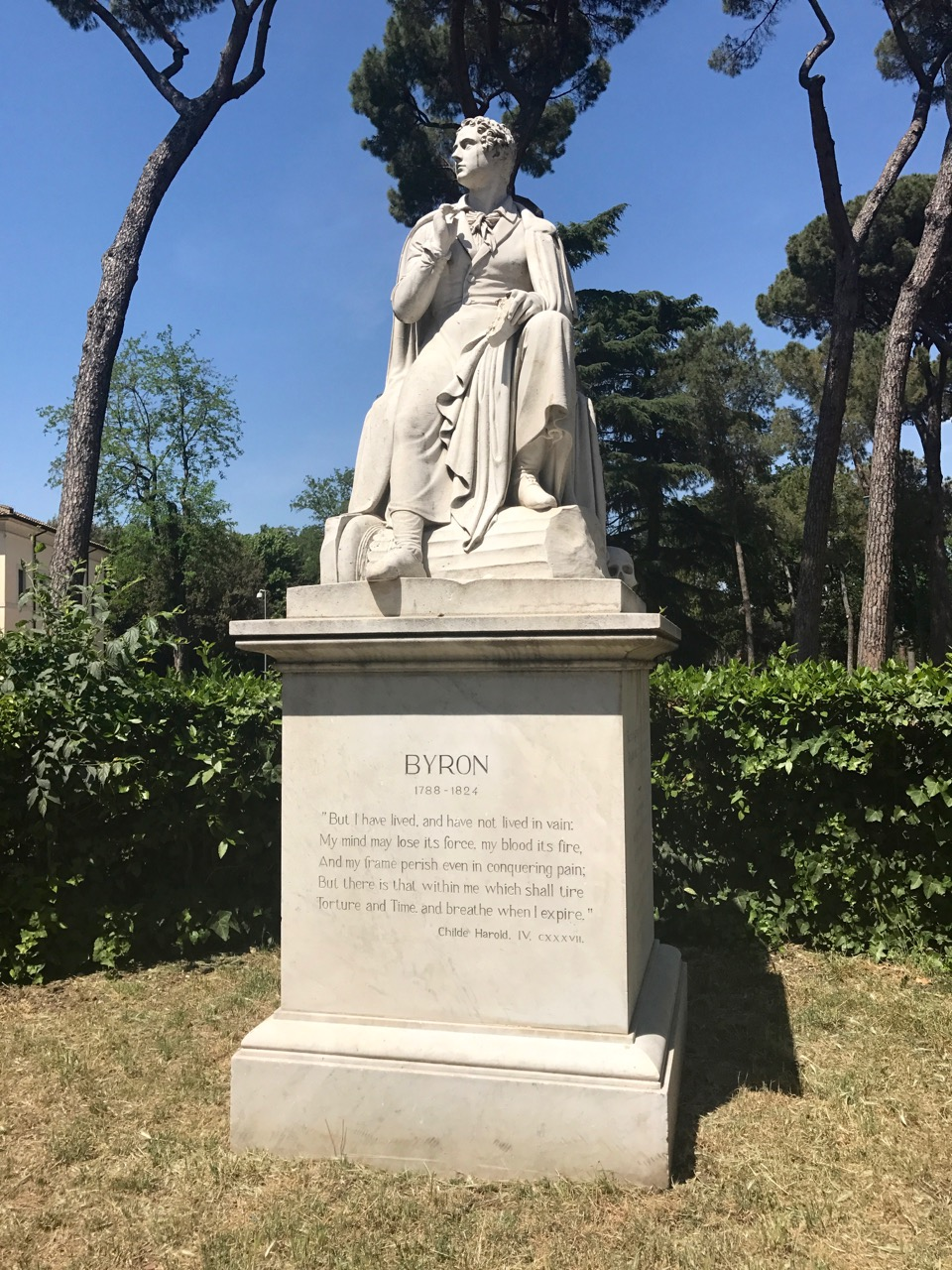 Statue, inside the Borghese Gardens.
