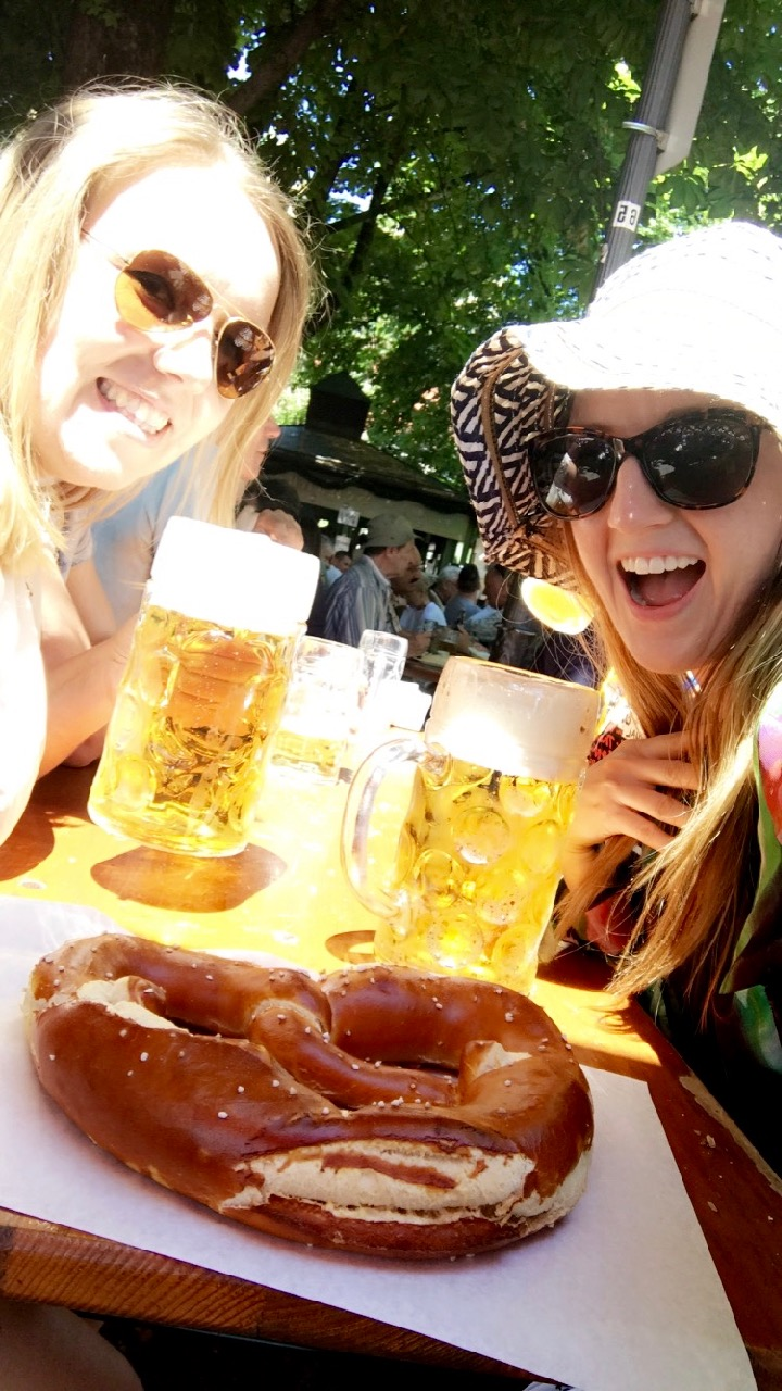 Maggie and I enjoying the Oktoberfest table!