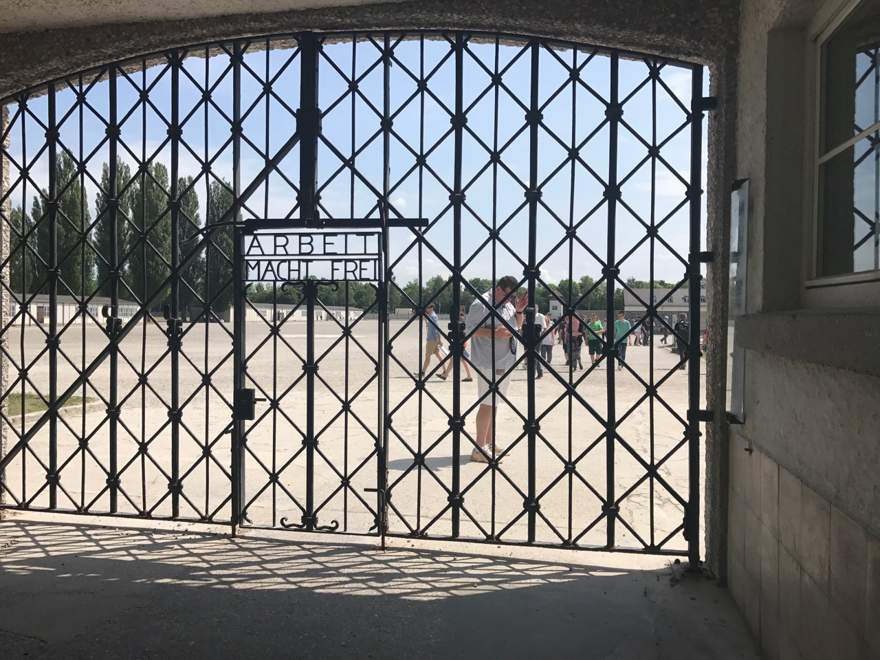 The cringe-worthy original gate at Dachau.