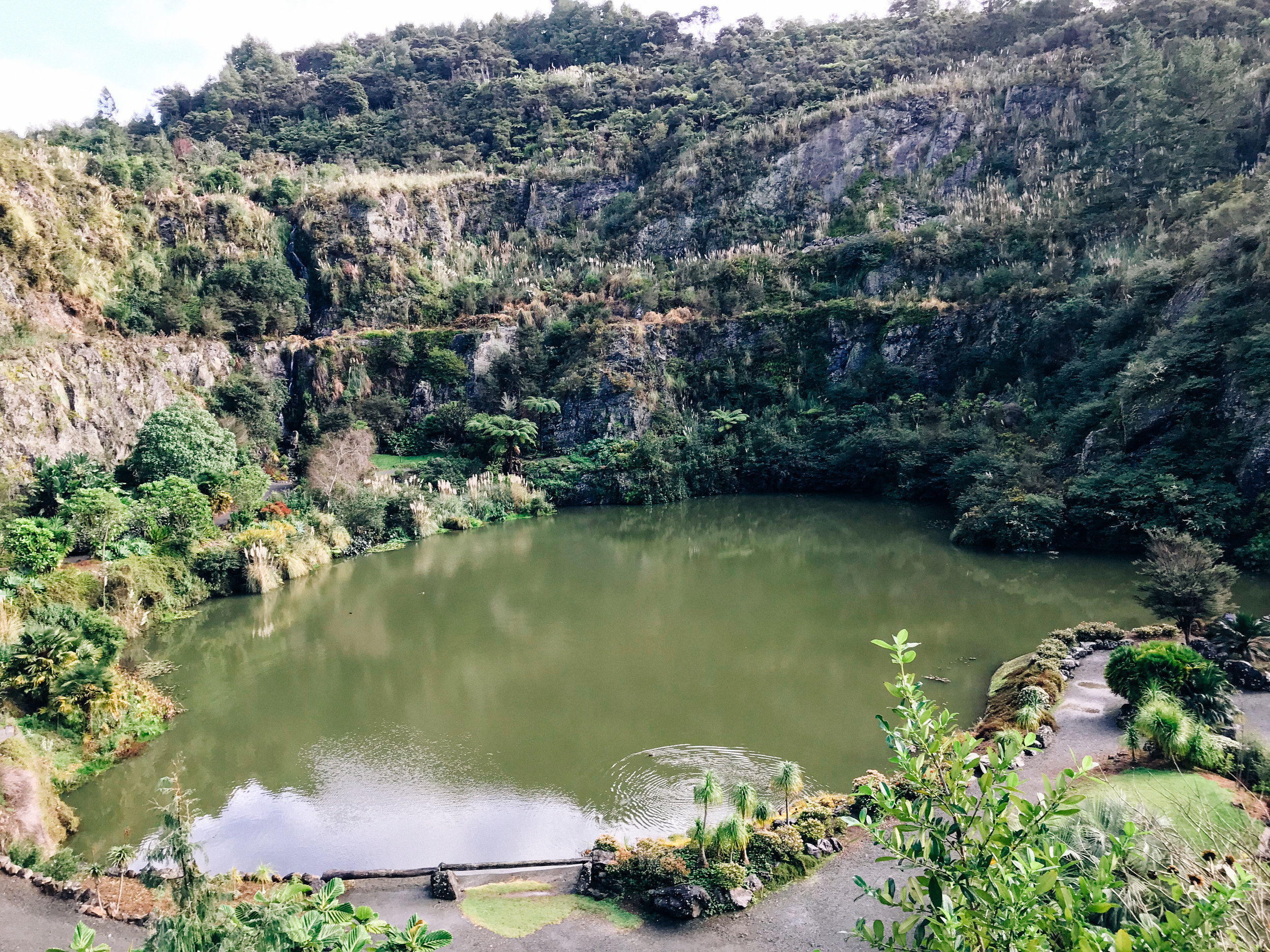 The lake where the quarry used to be. Now surrounds the beautiful garden area.