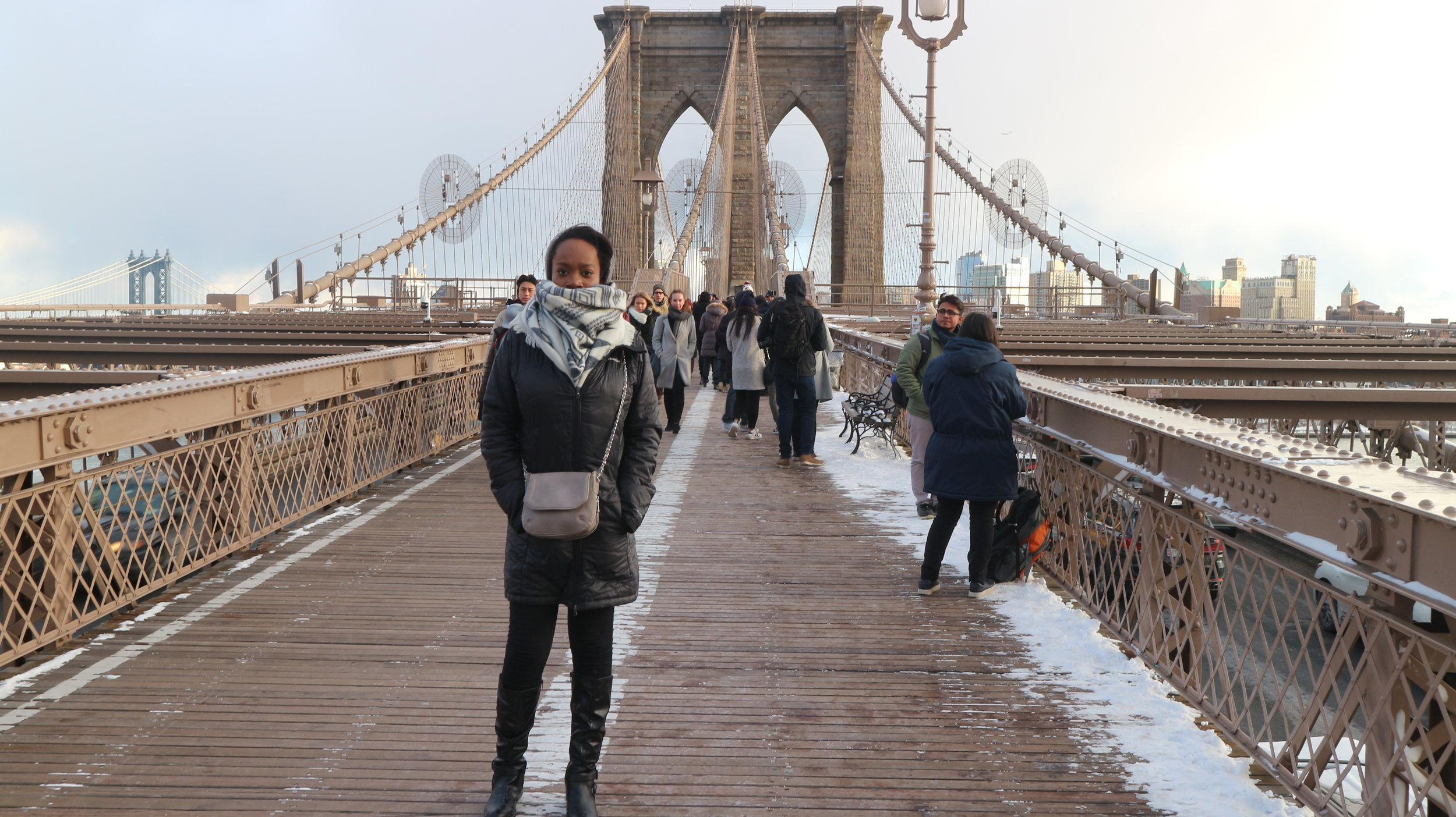 Freezing on the Brooklyn Bridge