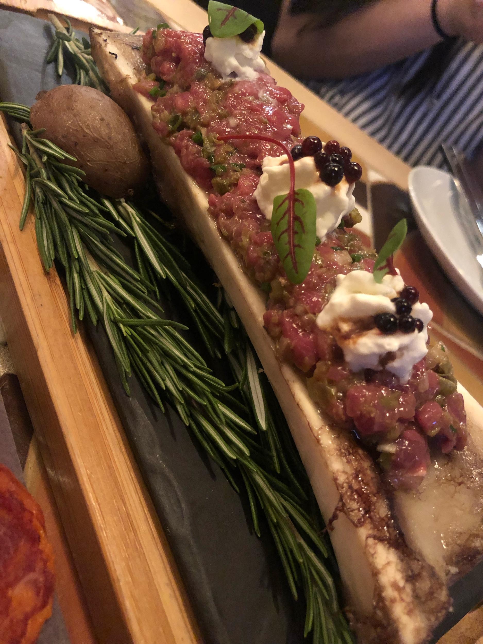 Steak Tartare on Roasted Bone Marrow from Madrina