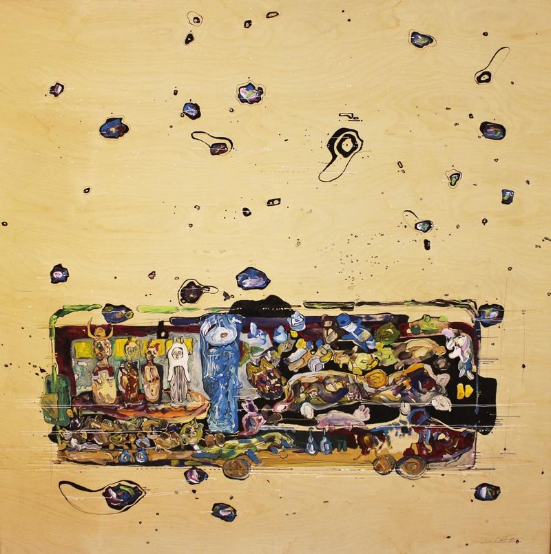 Hakim Abou-Kila   Mixed media on wood  150 x 150 cm  2010