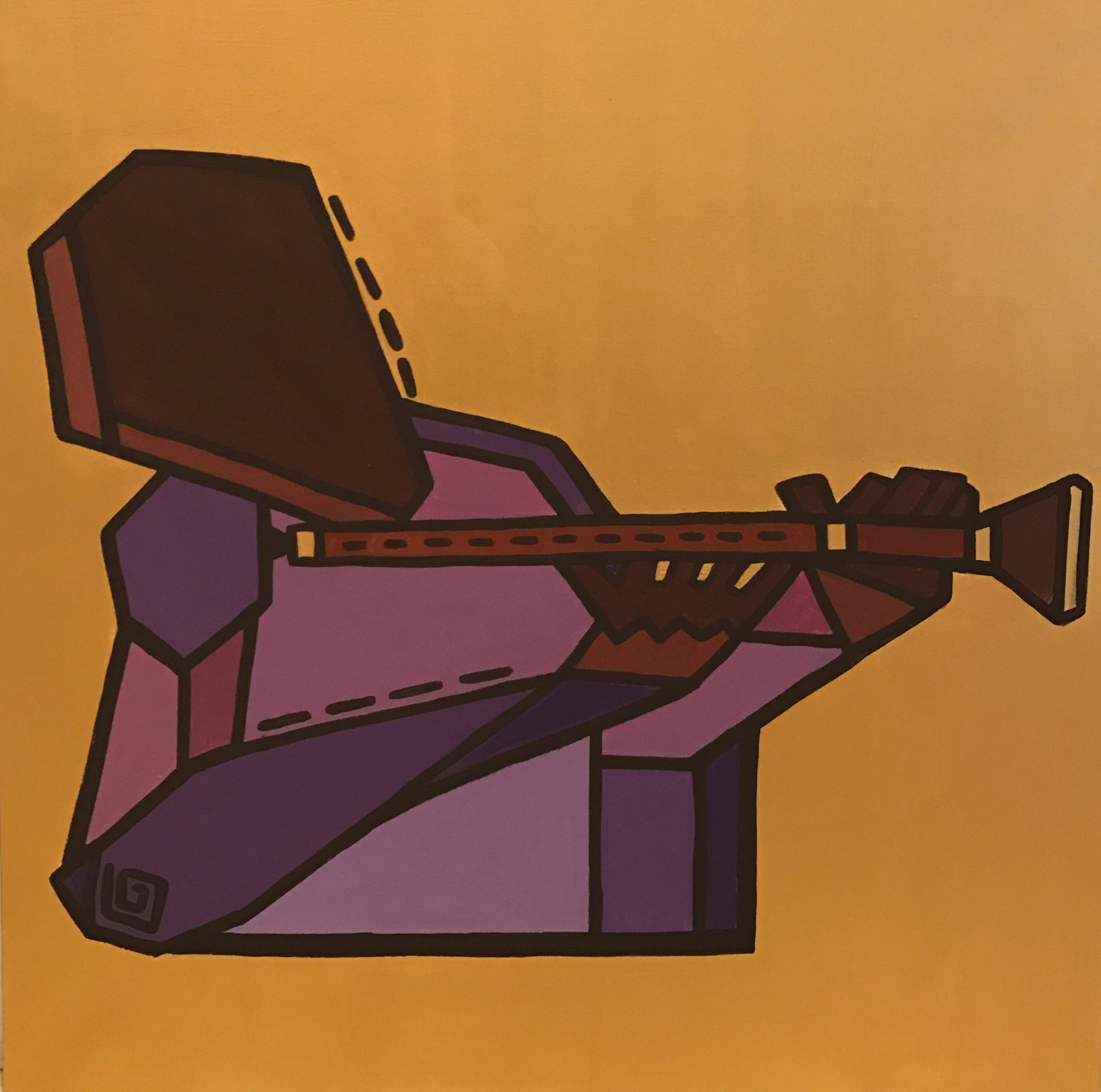 The Mizmar Player  // oriental woodwind  Acrylic on canvas  80 cm x 80 xm x 3.8 cm