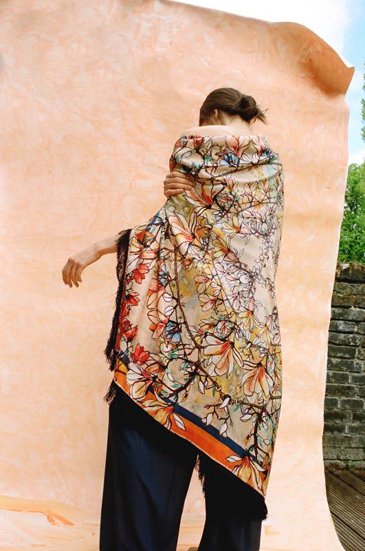 asterope navy tassels silk scarf