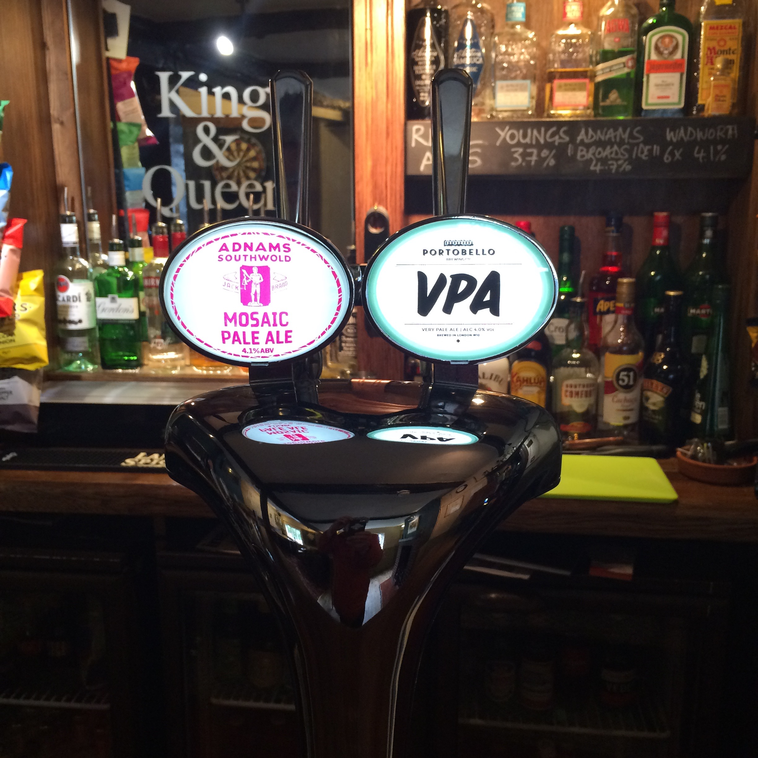 Two Rotational Craft Beers, currently Adnams Mosaic and Portobello VPA..