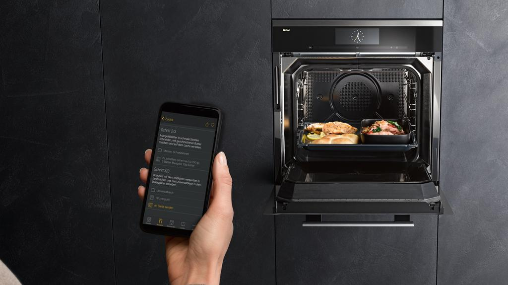 How can the   Miele app help?   Taking cooking into a new era, the Dialog oven's connectivity promises inspiration and additional cooking pleasure. The recipe feature included in the Miele@mobile app represents an ideal starting point for experimenting and trying out new ideas – offering users numerous automatic programmes developed specifically for this new oven. Alongside food preparation videos and shopping lists, the app also allows the parameters of a recipe to be transferred directly to the machine.