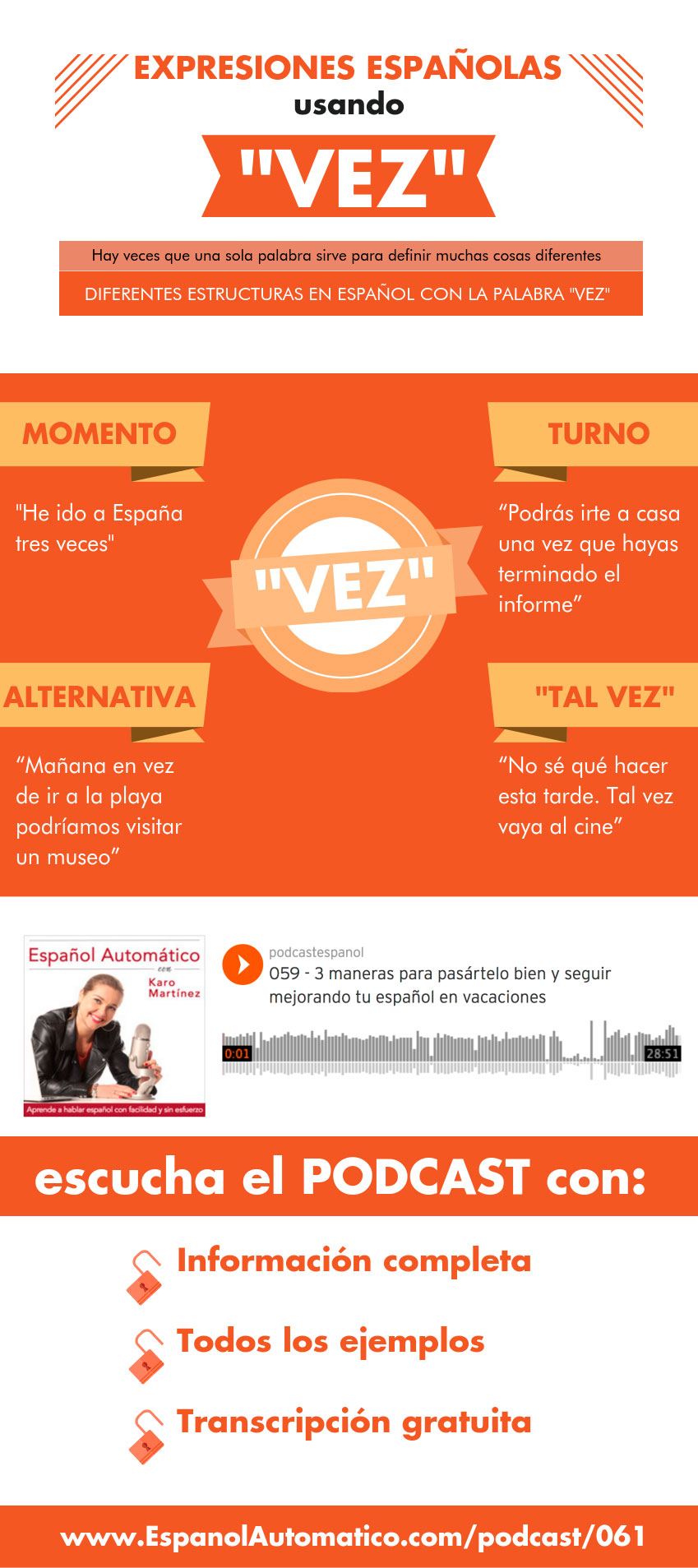 "Expresiones españolas usando ""vez""[Podcast 061] Learn Spanish in fun and easy way with our award-winning podcast: http://espanolautomatico.com/podcast/061REPIN for later"