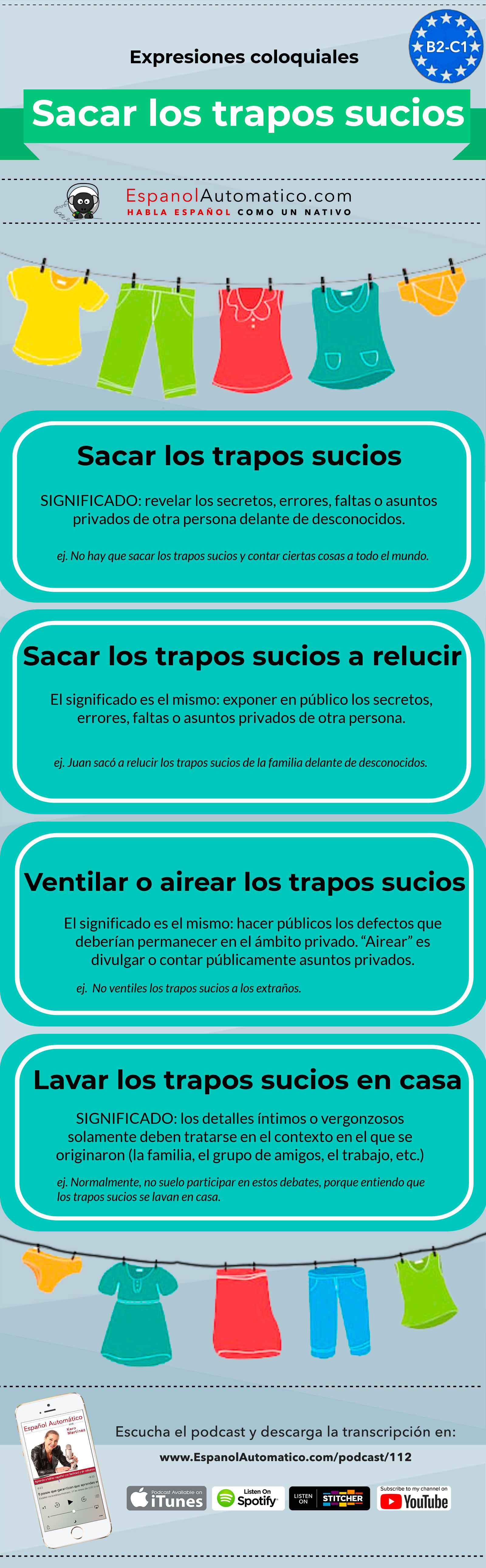 (B2-C1) Expresiones españolas: Sacar los trapos sucios   [Podcast 112] Learn Spanish in fun and easy way with our award-winning podcast: http://espanolautomatico.com/podcast/112 REPIN for later #teachspanish #spanishteacher #speakspanish #spanishlessons #learnspanishforadults #learnspanishforadultsfree #learningspanish #learningspanishlanguage #spanishworksheets #vocabularyactivities