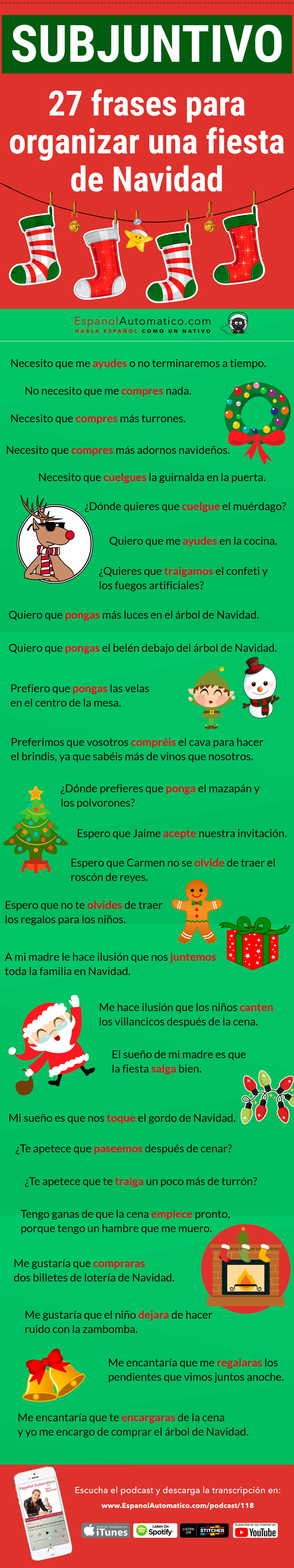 SUBJUNTIVO: 27 frases para organizar una fiesta de Navidad (B1) [Podcast 118] Learn Spanish in fun and easy way with our award-winning podcast: http://espanolautomatico.com/podcast/118 REPIN for later #teachspanish #spanishteacher #speakspanish #spanishlessons #learnspanishforadults #learnspanishforadultsfree #learningspanish #learningspanishlanguage #spanish #subjunctive #elsubjuntivo