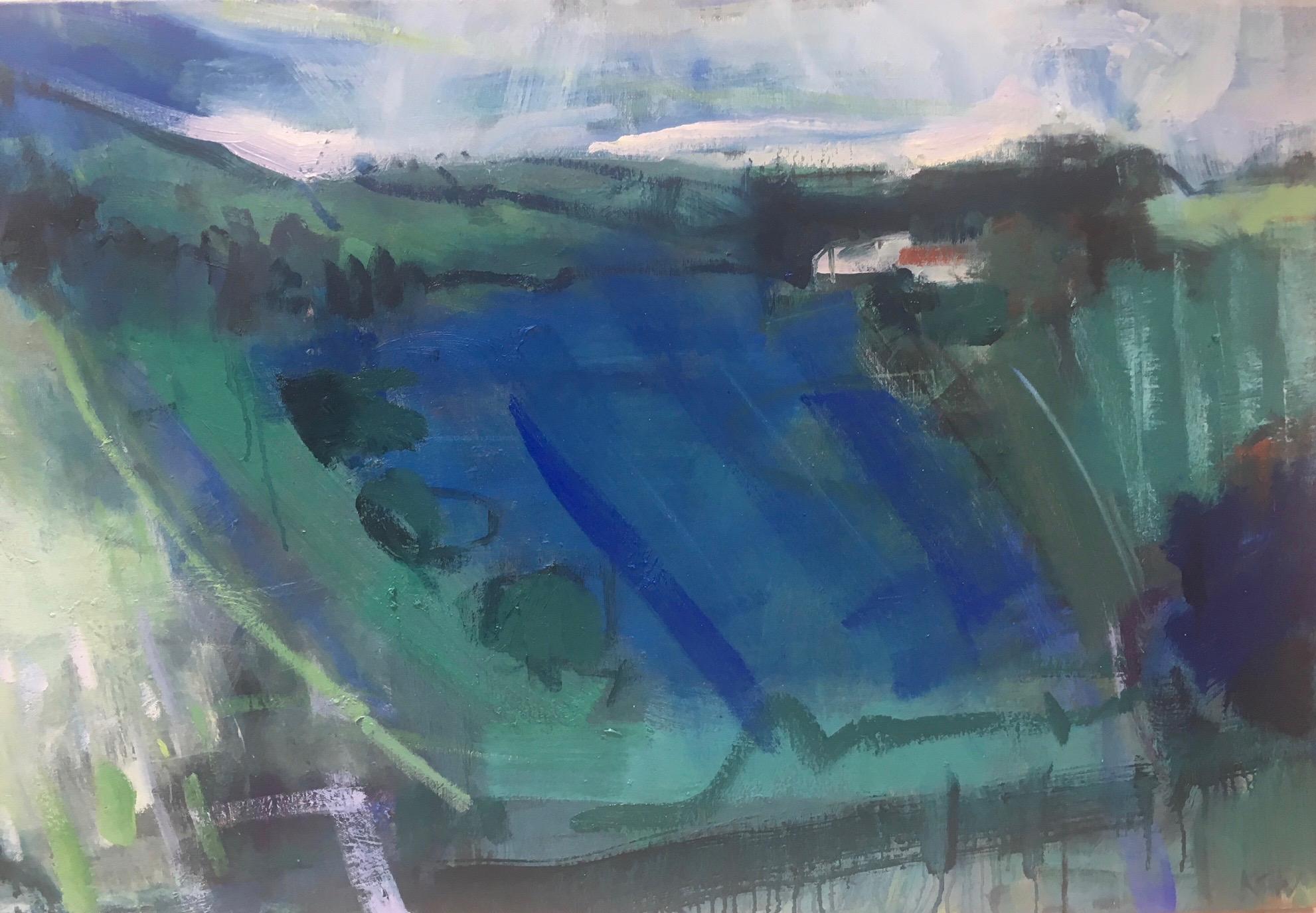 blue fields , july  oil on canvas. 60 x 90 cm