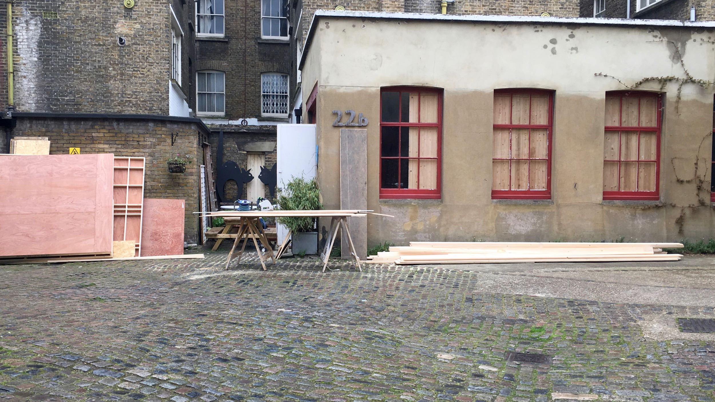 paramount Set builders spreading out in iliffe yard, building a set in Studio Boardroom For Brad Pitts latest film 'Allied' to be released in November 2016.