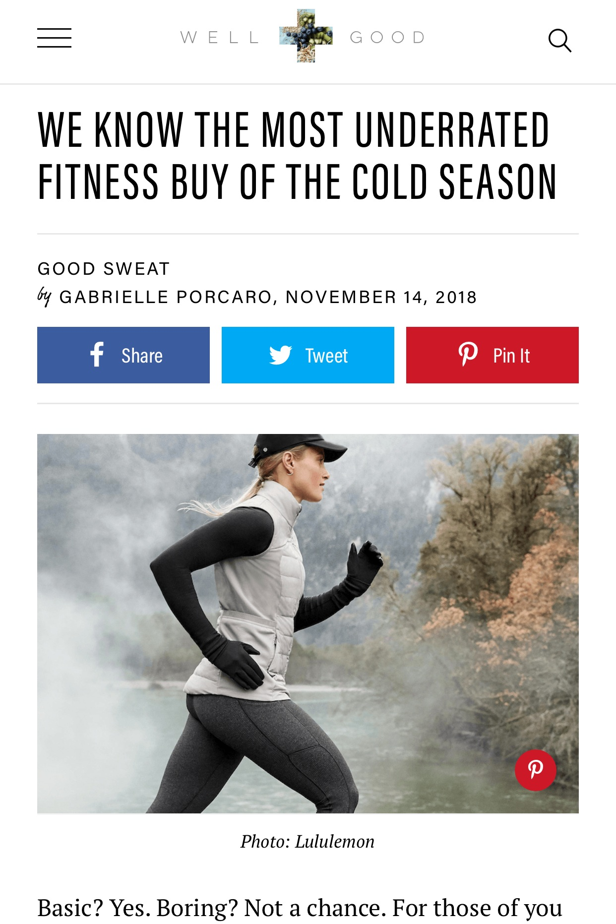 Well & Good: We Know the Most Underrated Fitness Buy of the Cold Season - November 14, 2018