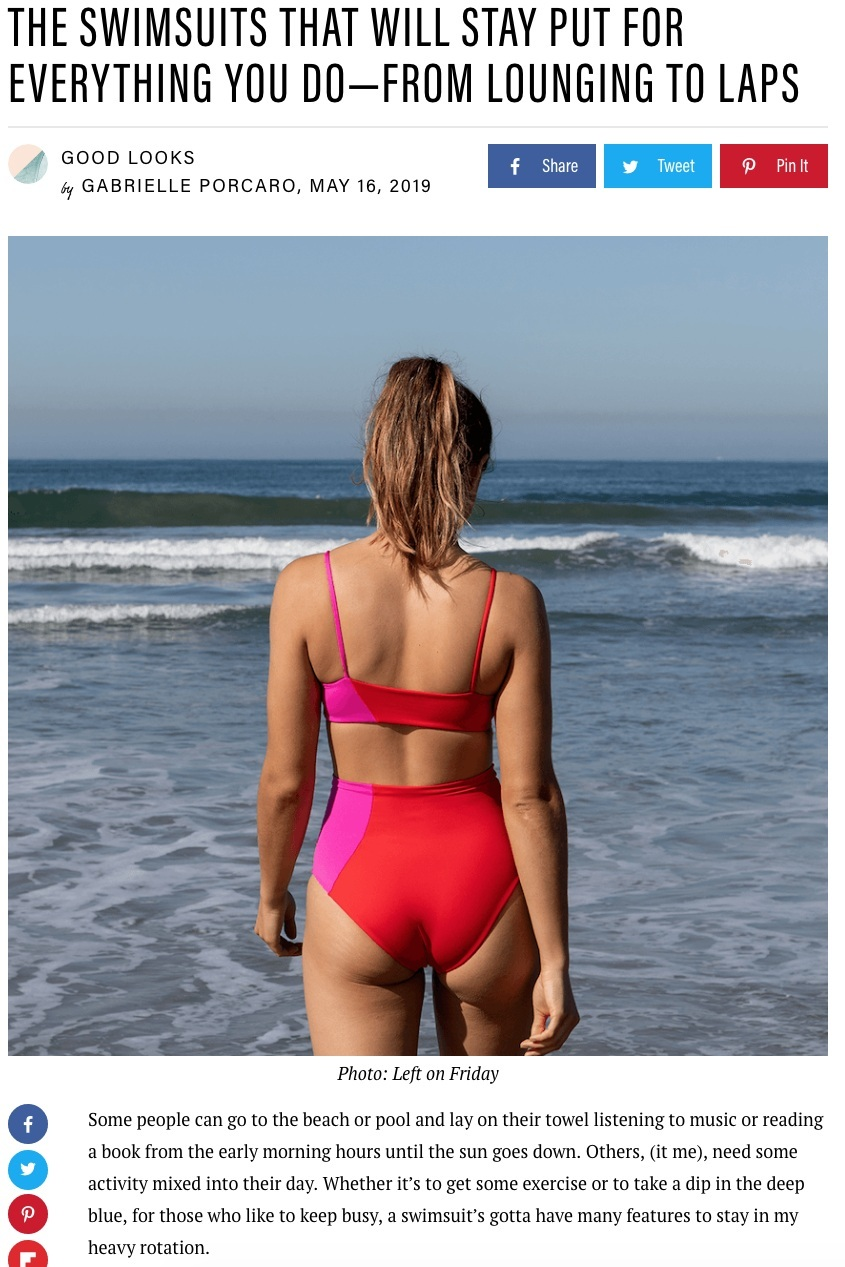 Well & Good: The Swimsuits That Will Stay Put For Everything You Do- From Lounging to Laps - May 16, 2019