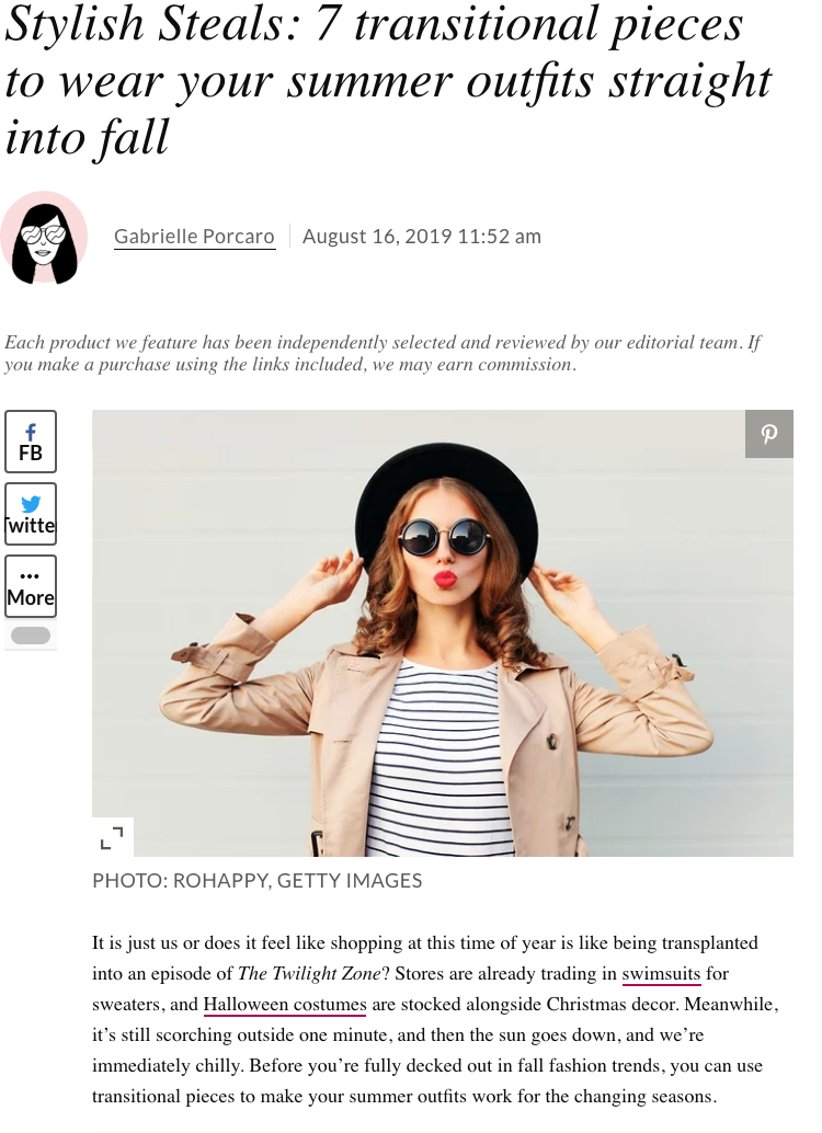 Hello Giggles: Stylish Steals 7 transitional pieces to wear your summer outfits straight into fall - August 16, 2019