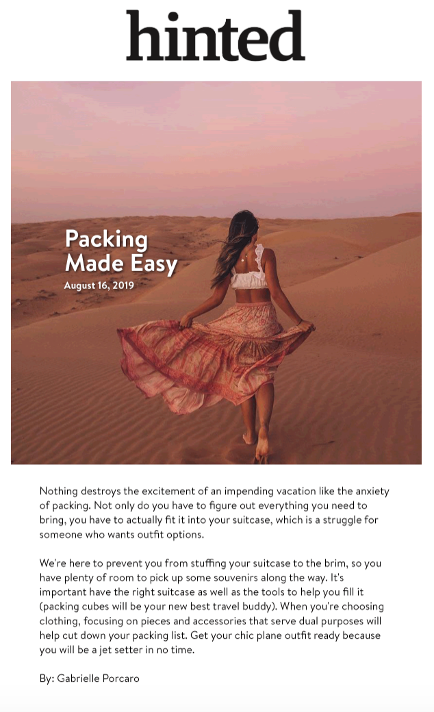 Hinted: Packing Made Easy - august 15, 2019