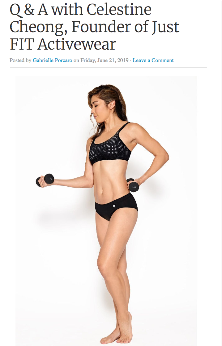 Lingerie Journal: Q & A w Celestine Cheong Founder of FIT Activewear - June 21, 2019