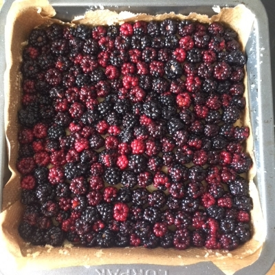 Amazing recipe for amusing the kids, here my daughter lined up the blackberries SO carefully! Brilliant.