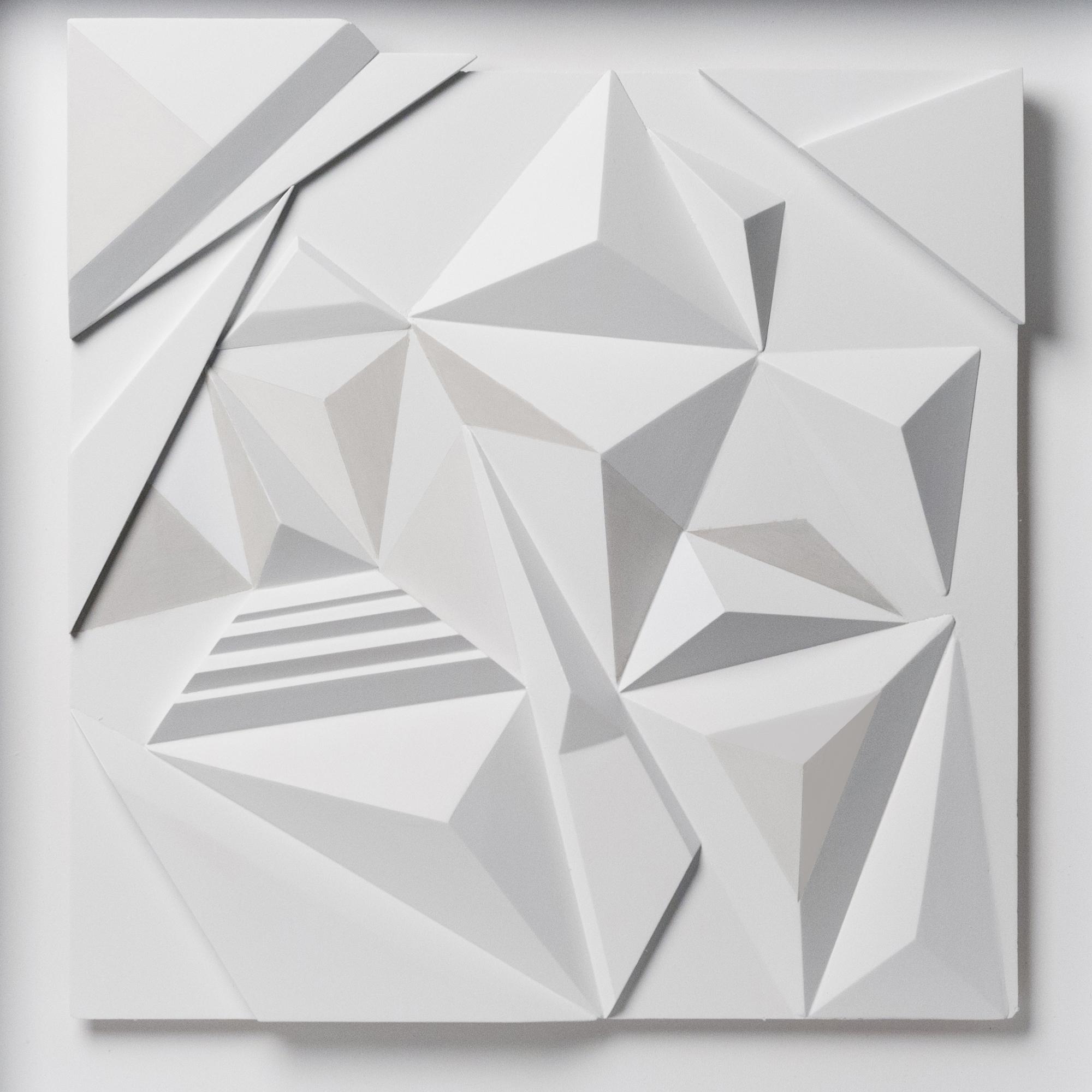 "Monochrome white 2015,  Exploring optical illusions  20.5""x 20.5""x 2"" MDF"
