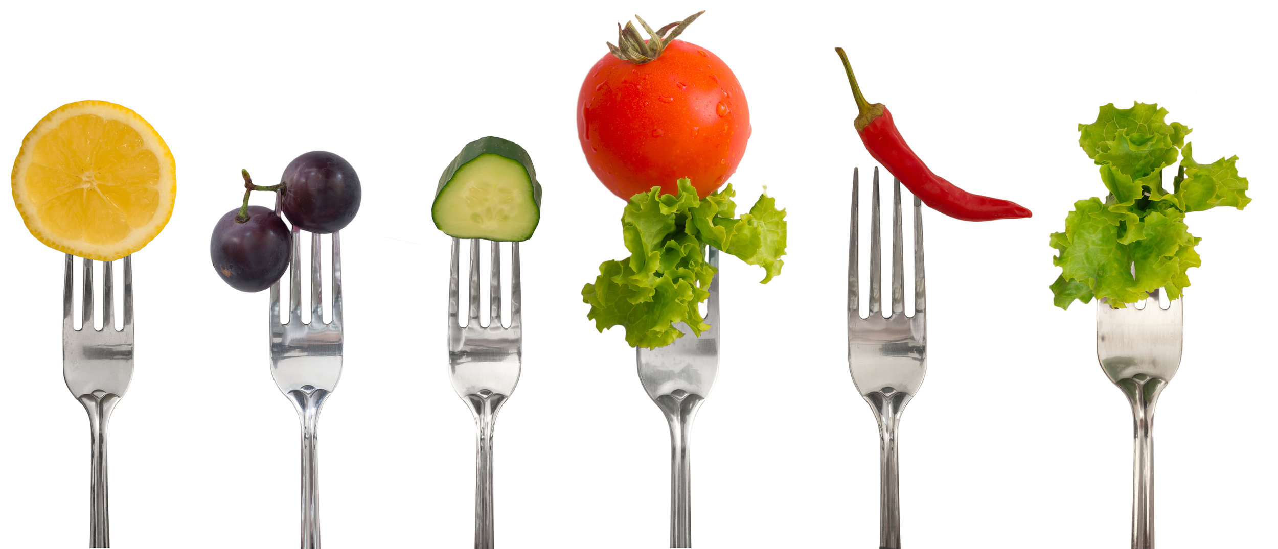 collection of forks with vegetables and fruit