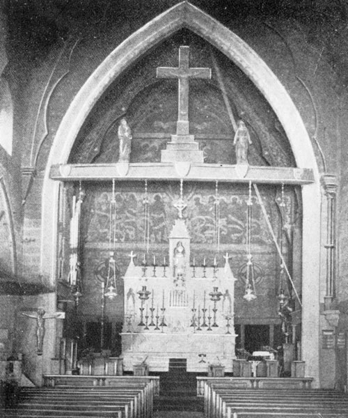 """The interior of the """"old Saint Mary's"""" on 45th Street.  The Church was located there from 1870 to 1896."""