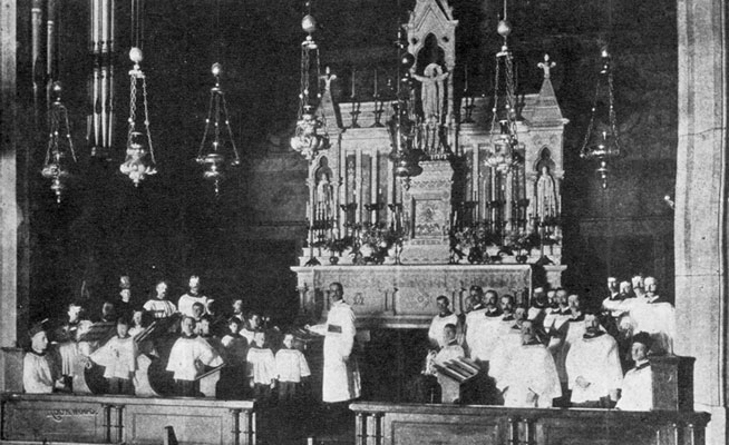 """The Choir at """"old Saint Mary's"""" on 45th Street.  The marble altar and tabernacle were moved to the present building, but the gradine and reredos were not used in the """"new Saint Mary's"""""""
