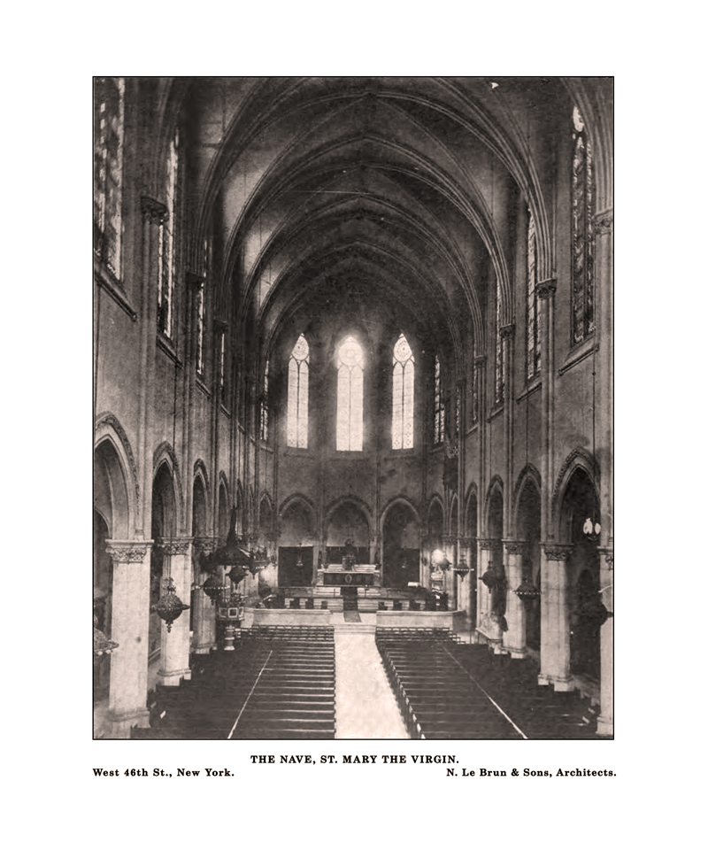 The interior of Saint Mary's in the 1890's.  Note the gas chandeliers in the Nave.  The church, parish building and Mission House were originally powered solely by gas.