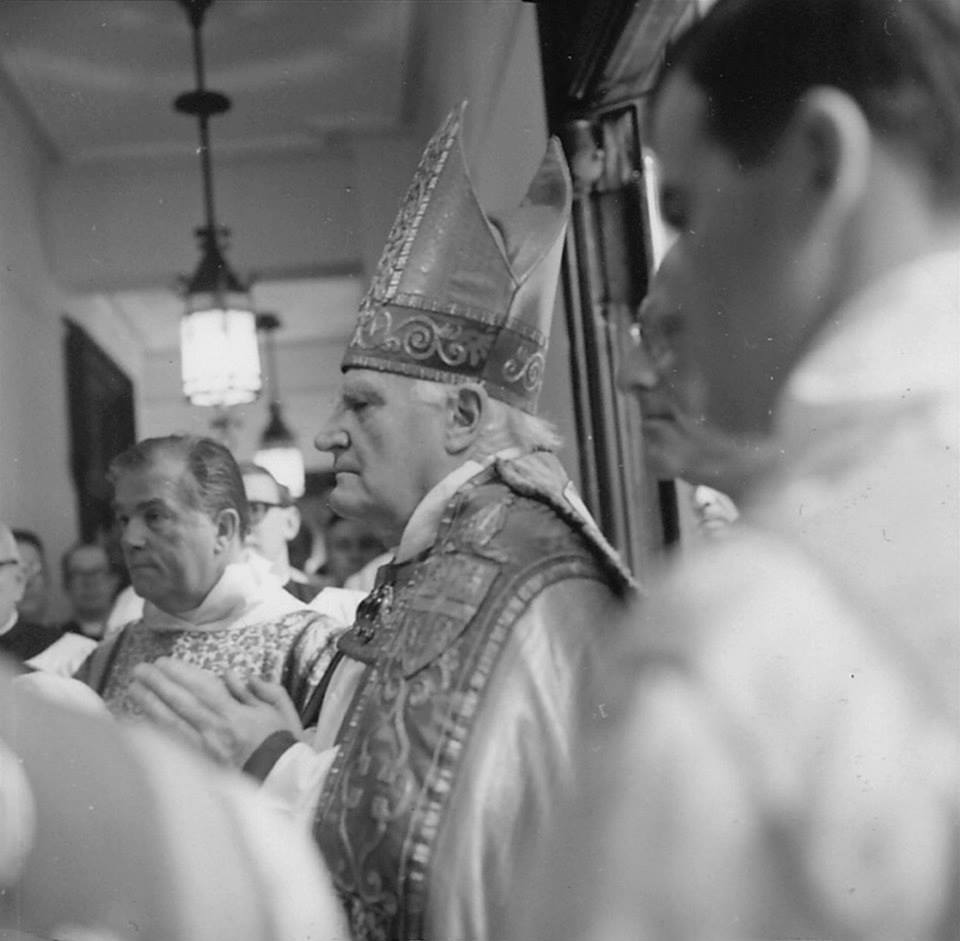 The Right Reverend and Right Honourable Michael Arthur Ramsey, The Lord Ramsey of Canterbury PC, 100th Archbishop of Canterbury, visiting Saint Mary's in the late 1960s