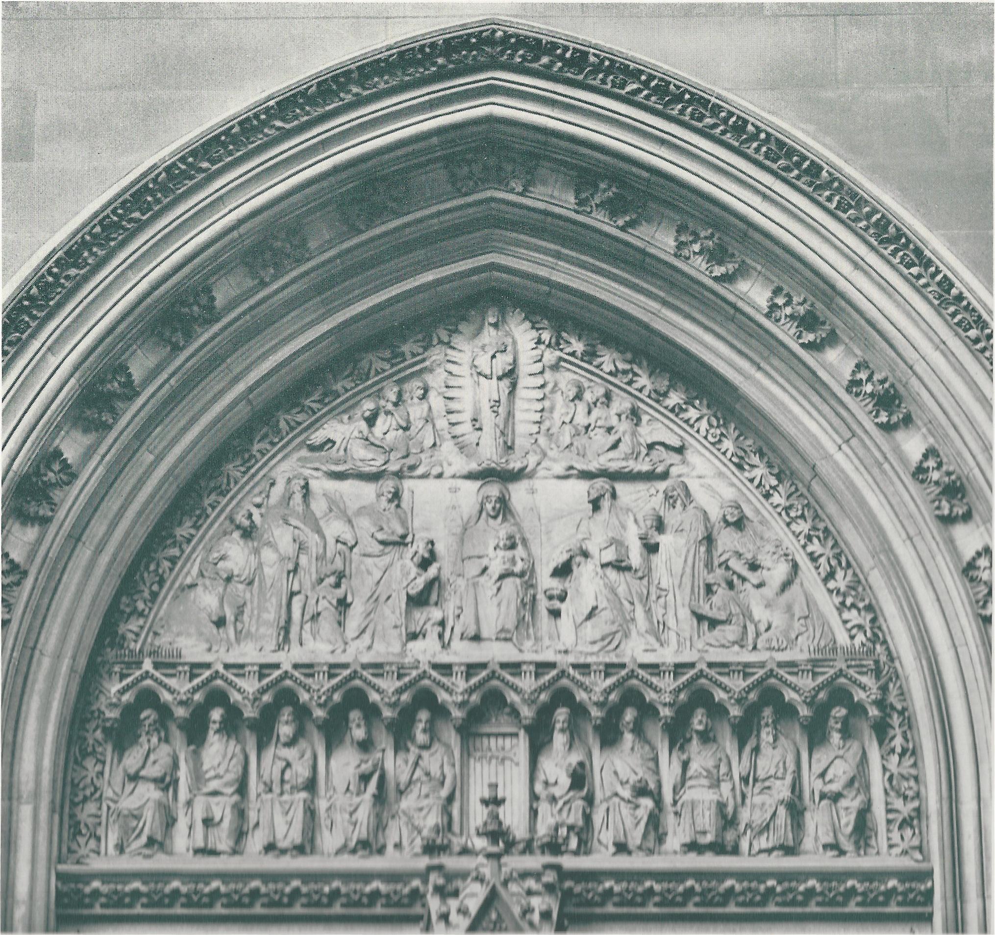 The tympanum over the door of Saint Mary's - 1950s