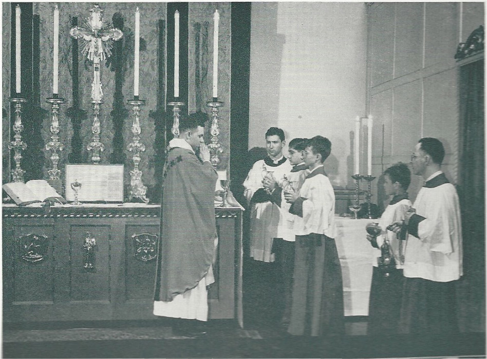 Benediction of the Blessed Sacrament in Saint Joseph's Hall in the 1940s.