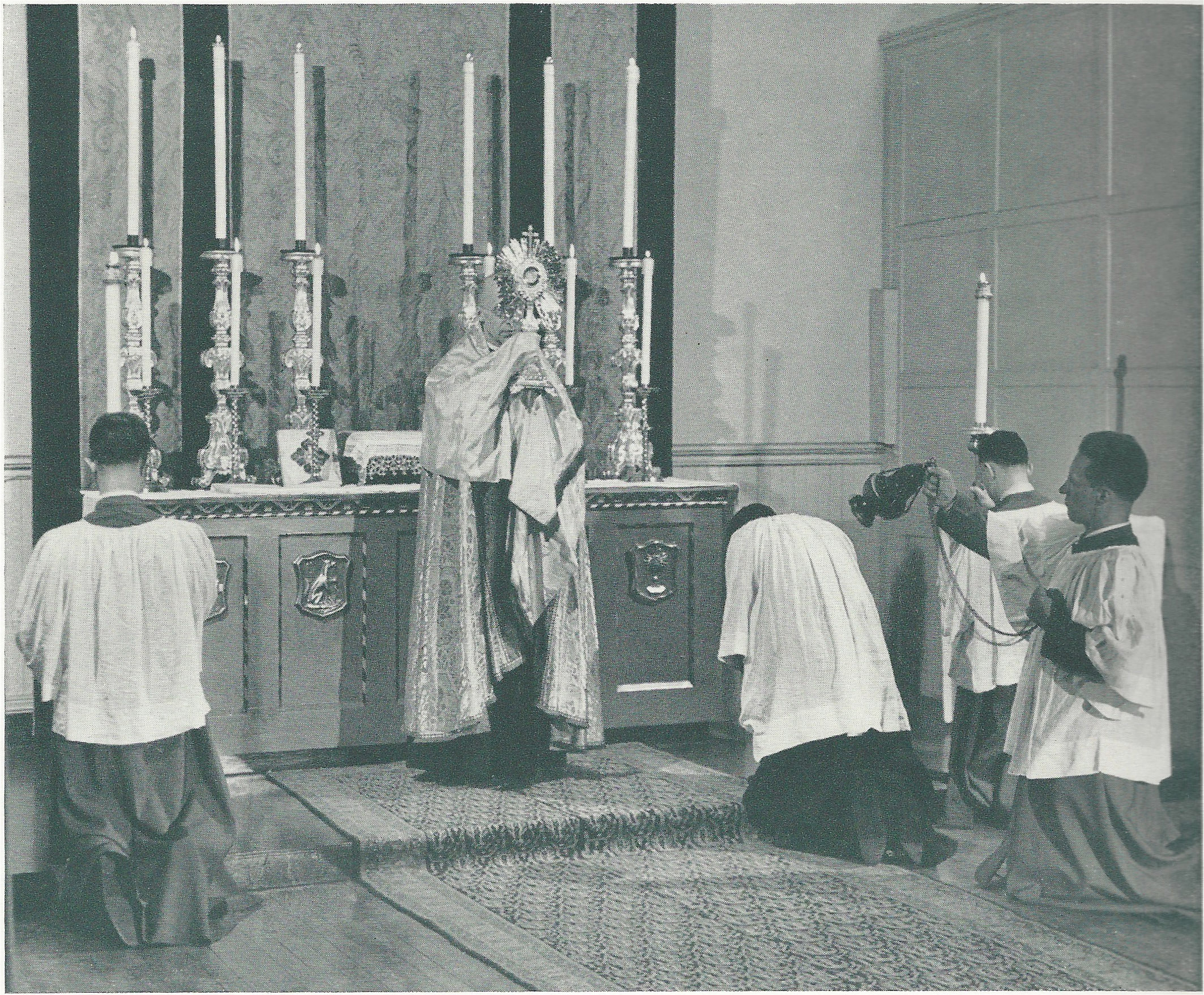 Benediction of the Blessed Sacrament in Saint Joseph's Chapel in the 1940s.