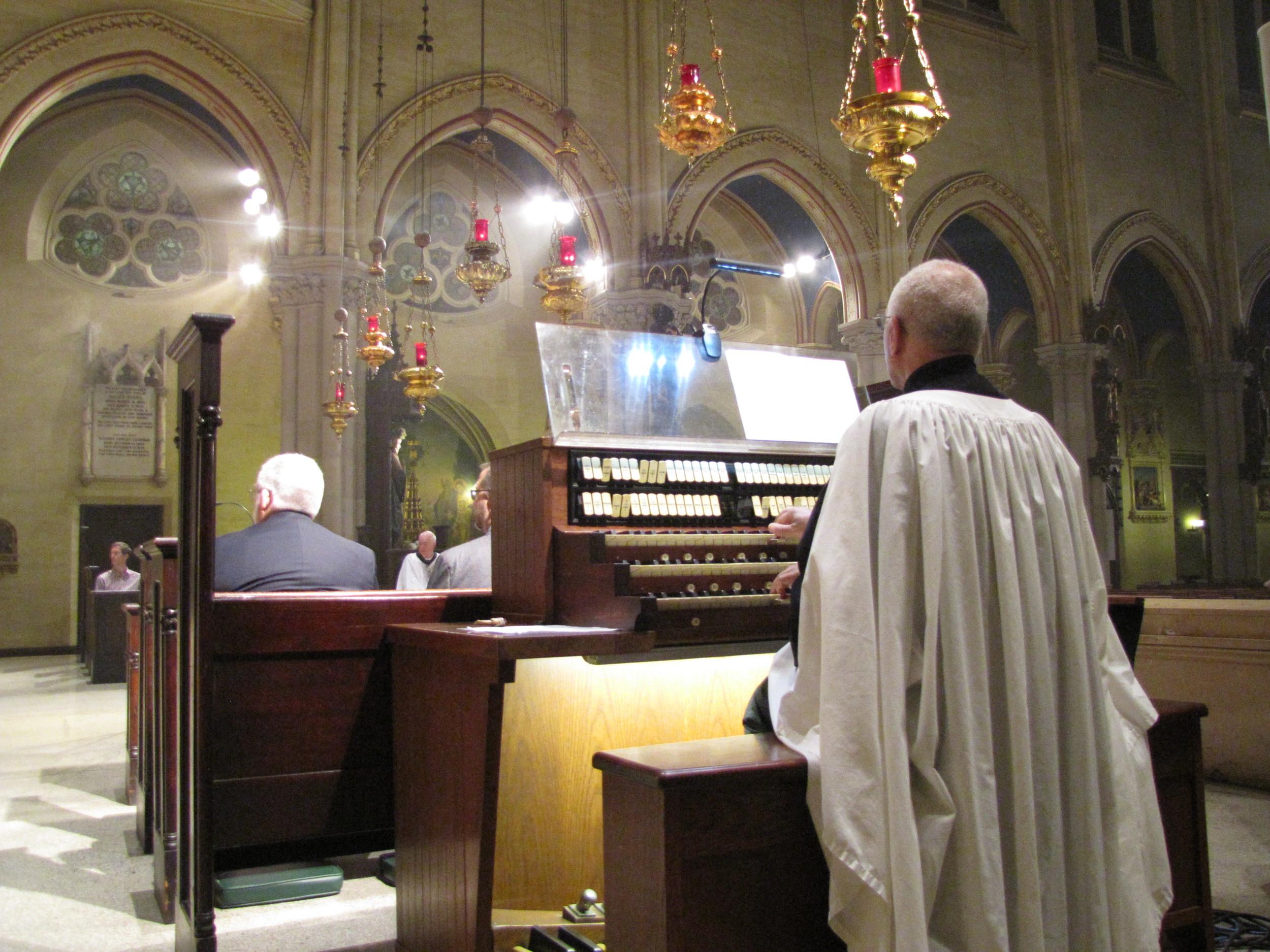 Dr. David Hurd at the console organ