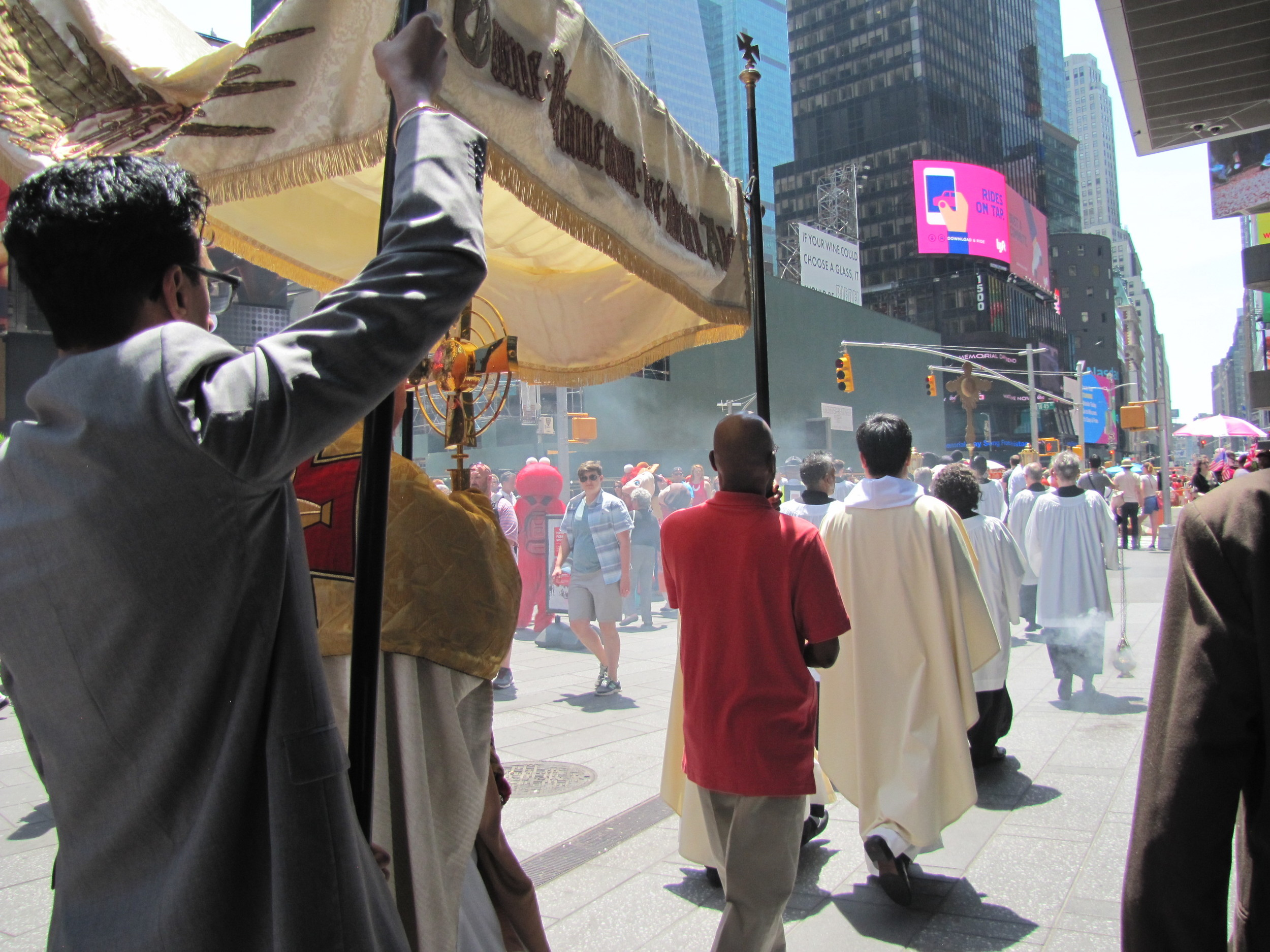 The Corpus Christi processional through Times Square