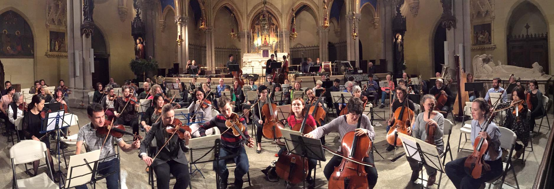 The New York Repertory Orchestra rehearsing at Saint Mary's - Photo by David Leibowitz