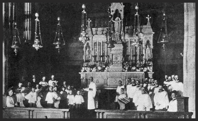 The choir in the Church on 45th Street in the 1870s.