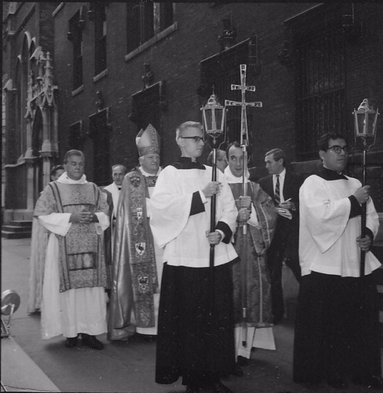 Archbishop of Canterbury Michael Ramsey The Feast of Dedication, October 1, 1967 The missing cross above the West 47th Street doorway in the background.