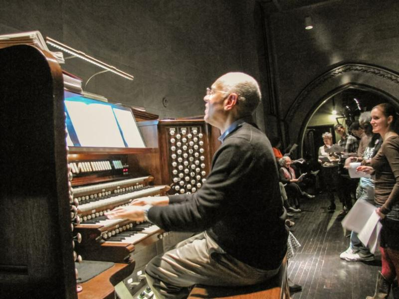 Hymn sing in the choir loft for Oktoberfest