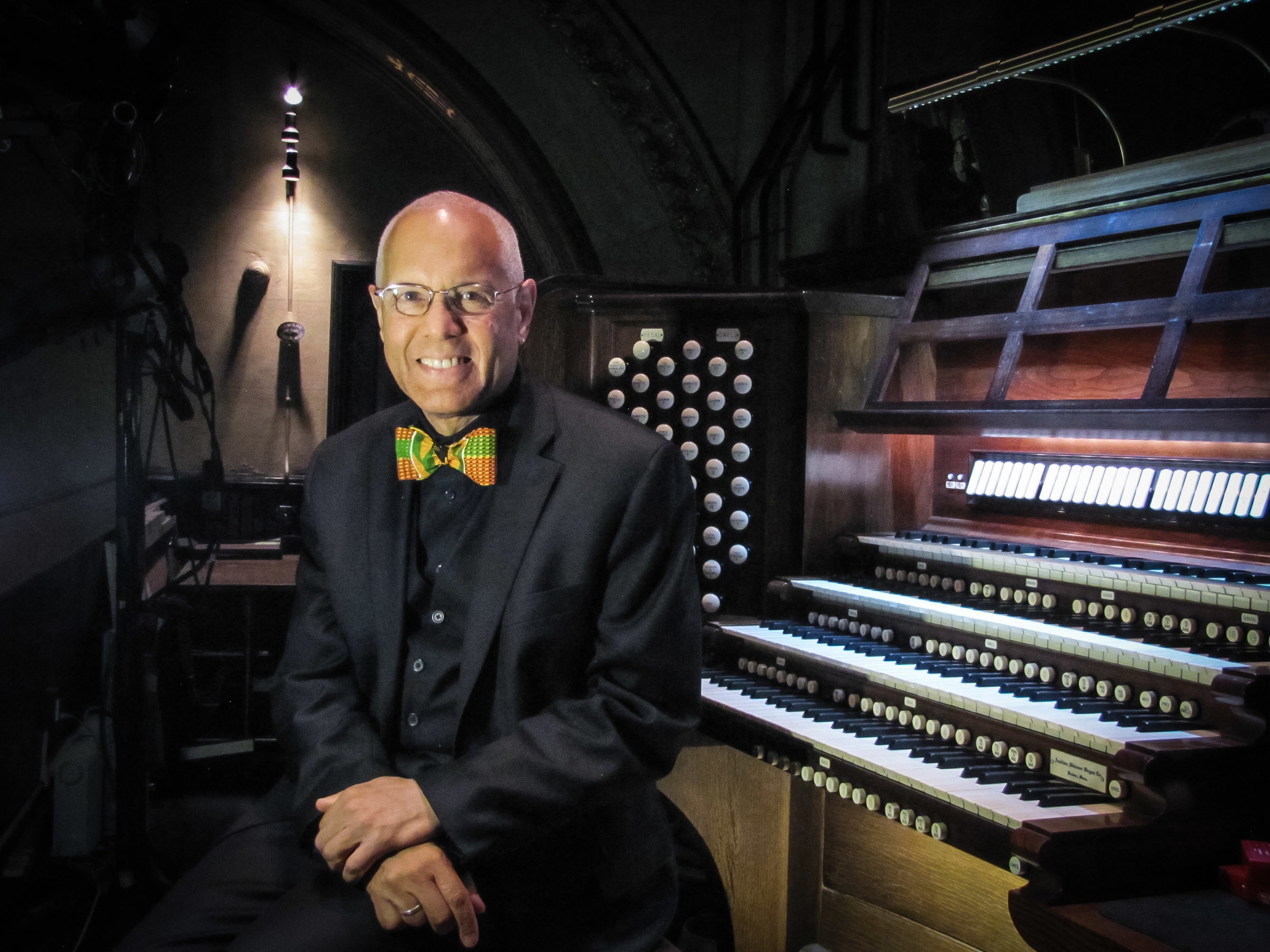 Dr. David Hurd at the Saint Mary's organ  Photo by Sister Monica Clare