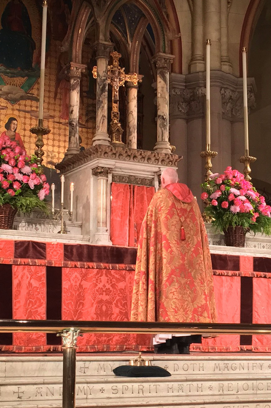 Just before the censing of the altar begins at Solemn Evensong