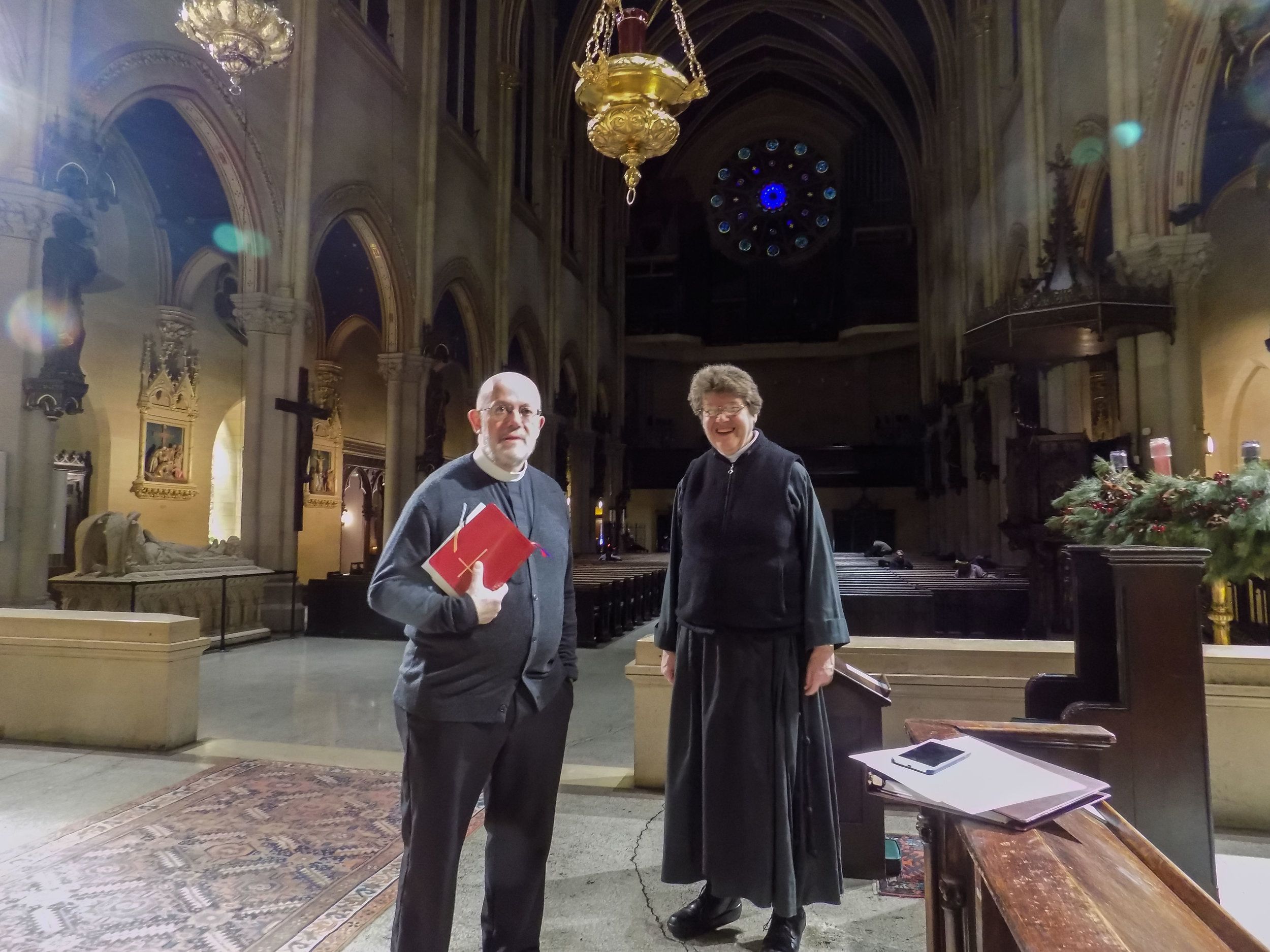 Father Smith and Sr. Eleanor Francis, C.S.J.B. after Morning Prayer on Monday, December 12, 2016. Sister serves as the superior of the Community of St. John Baptist, the community of our resident sisters.