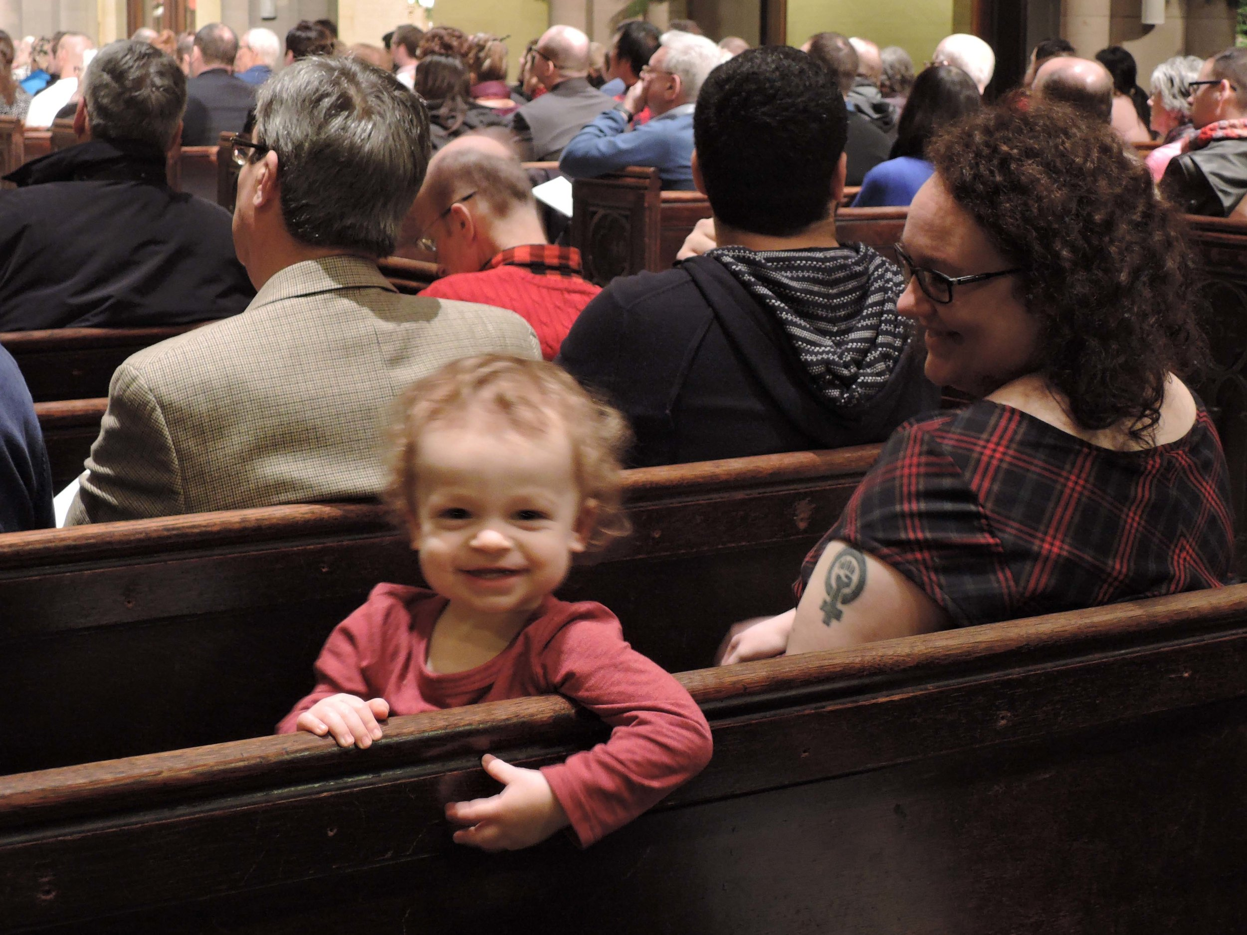 One of our younger members at the 5 PM Sung Mass.