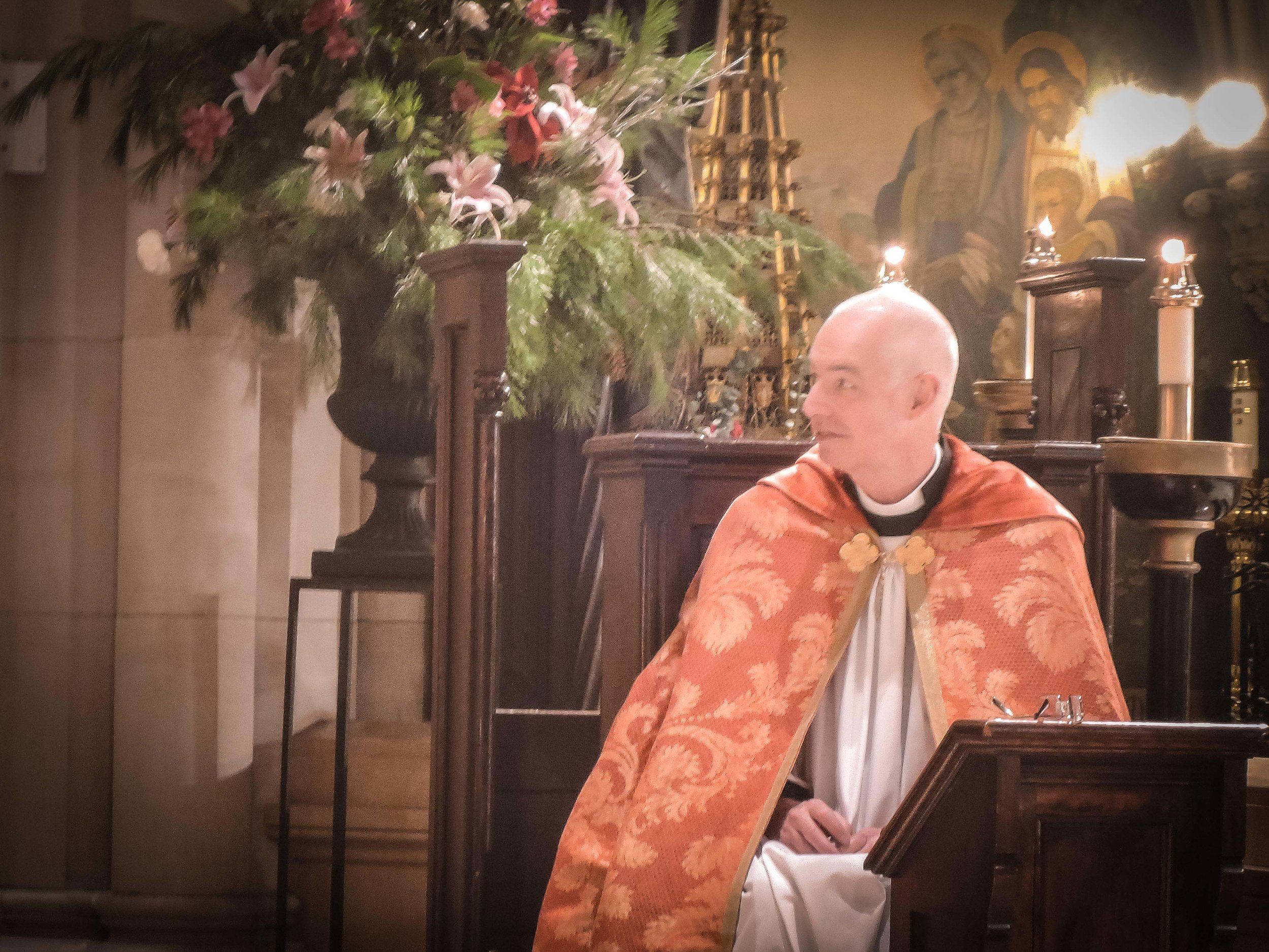 The Rector in choir on Christmas Day