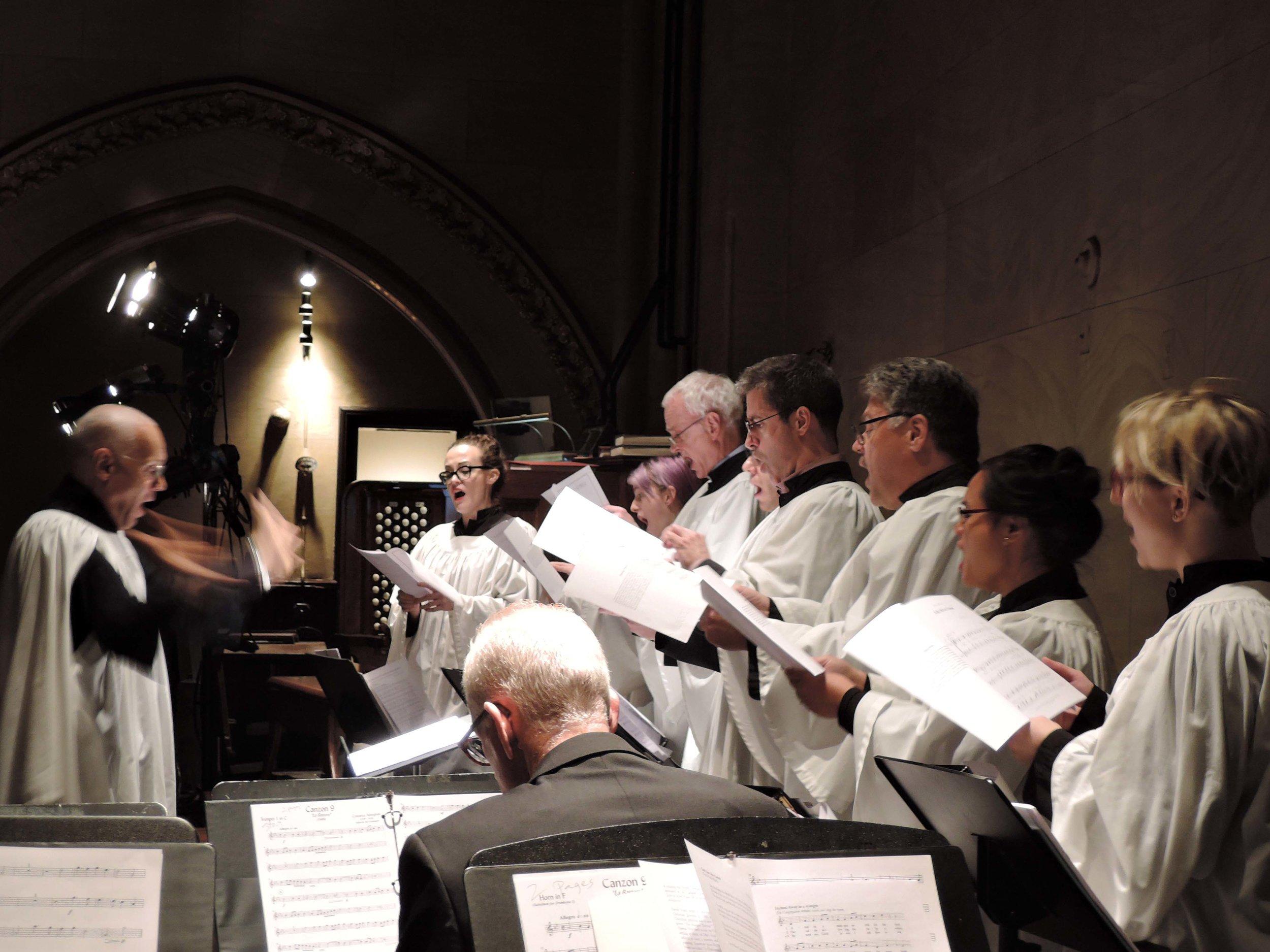 Dr. Hurd conducts the parish choir.