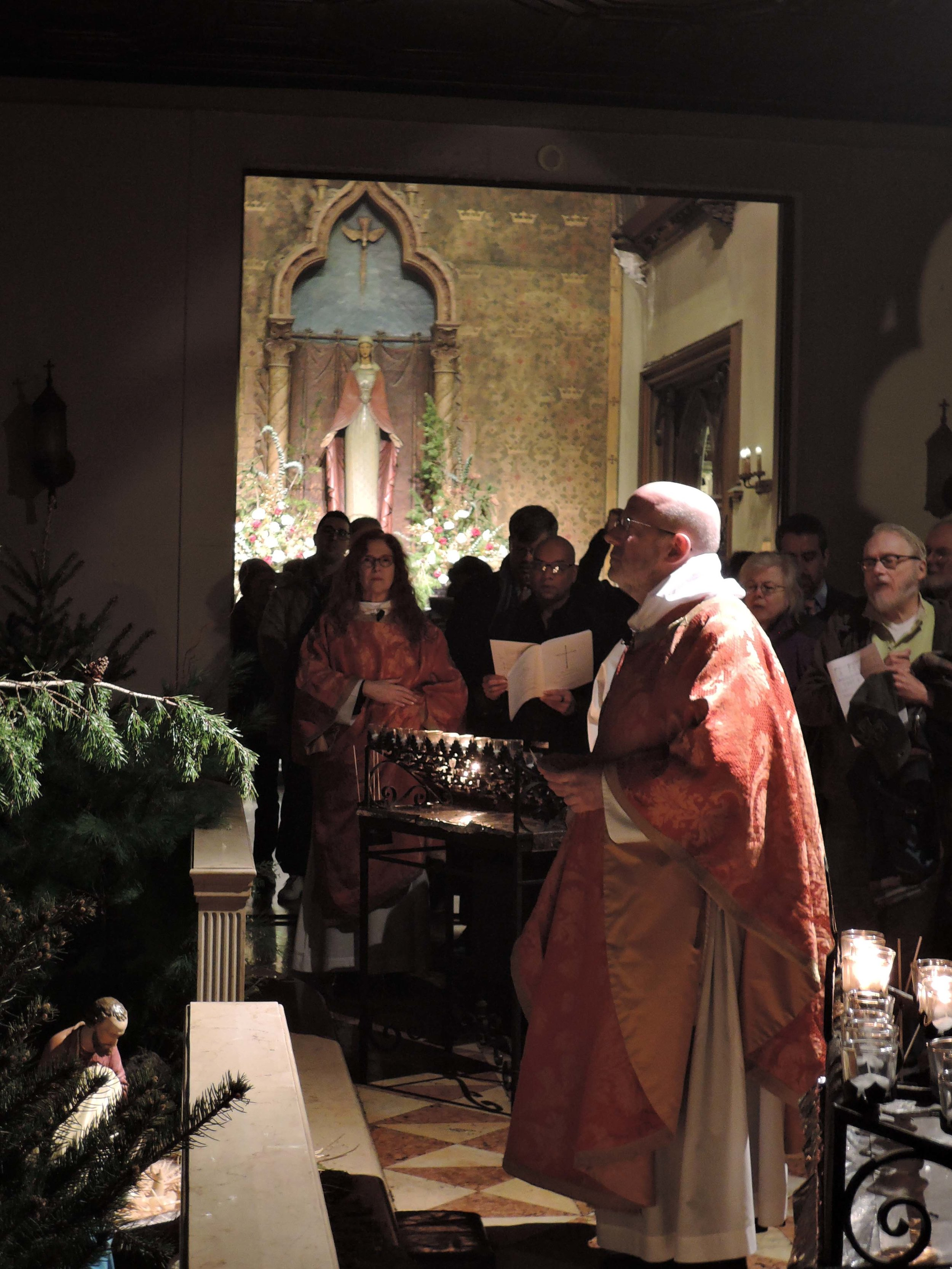 At the end of the Solemn Mass of Christmas Day, the congregation processes to the Creche for the Angelus.