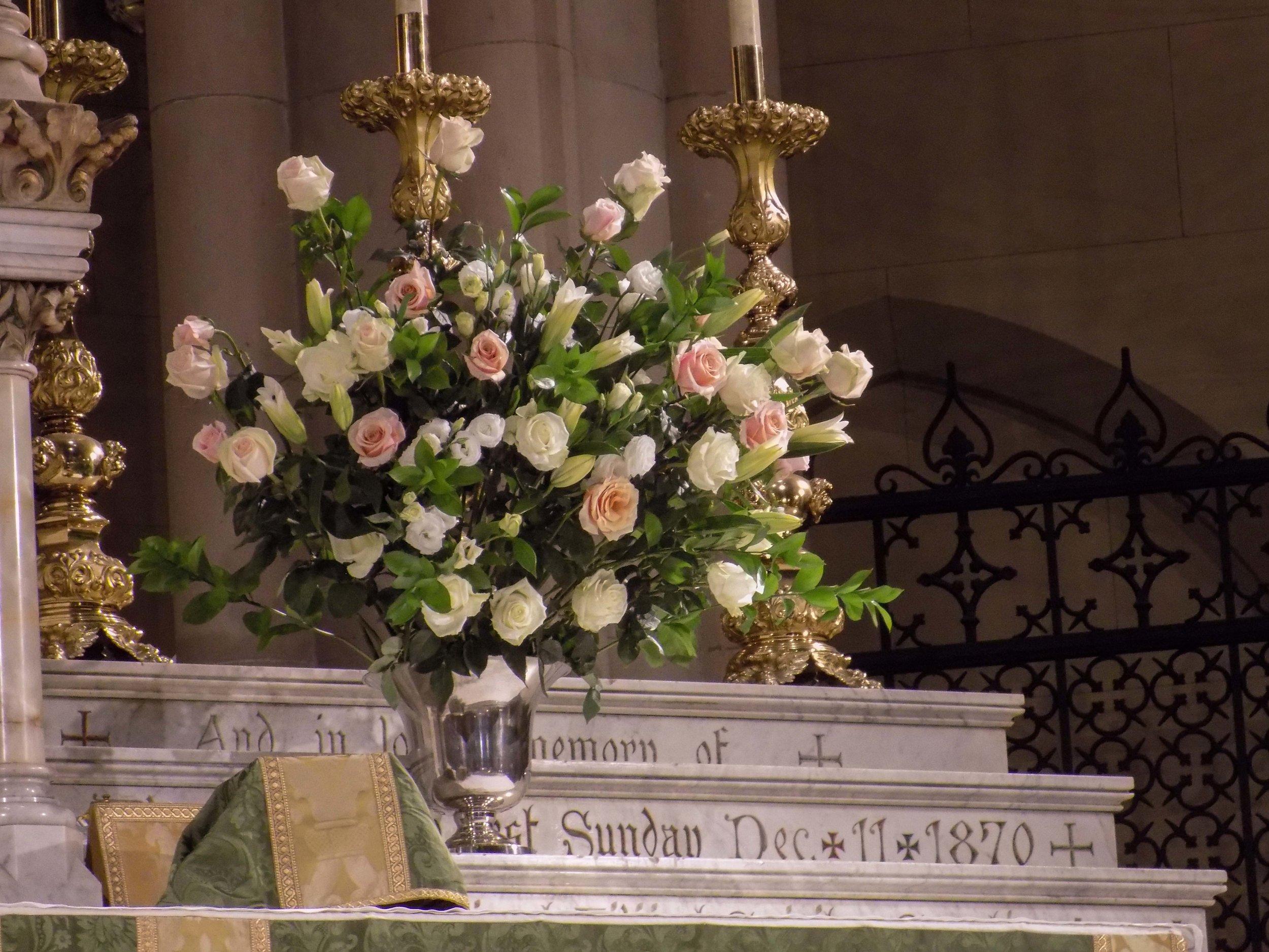 The high altar flowers on Sunday.
