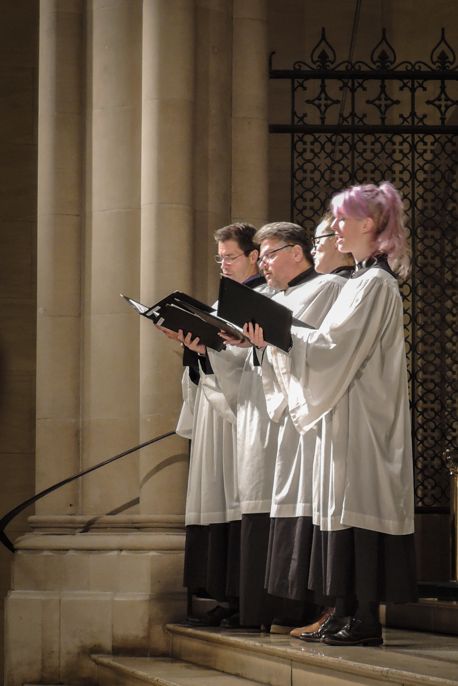 At Solemn Evensong on Candlemas Eve, a quartet sang the canticles and a motet   .