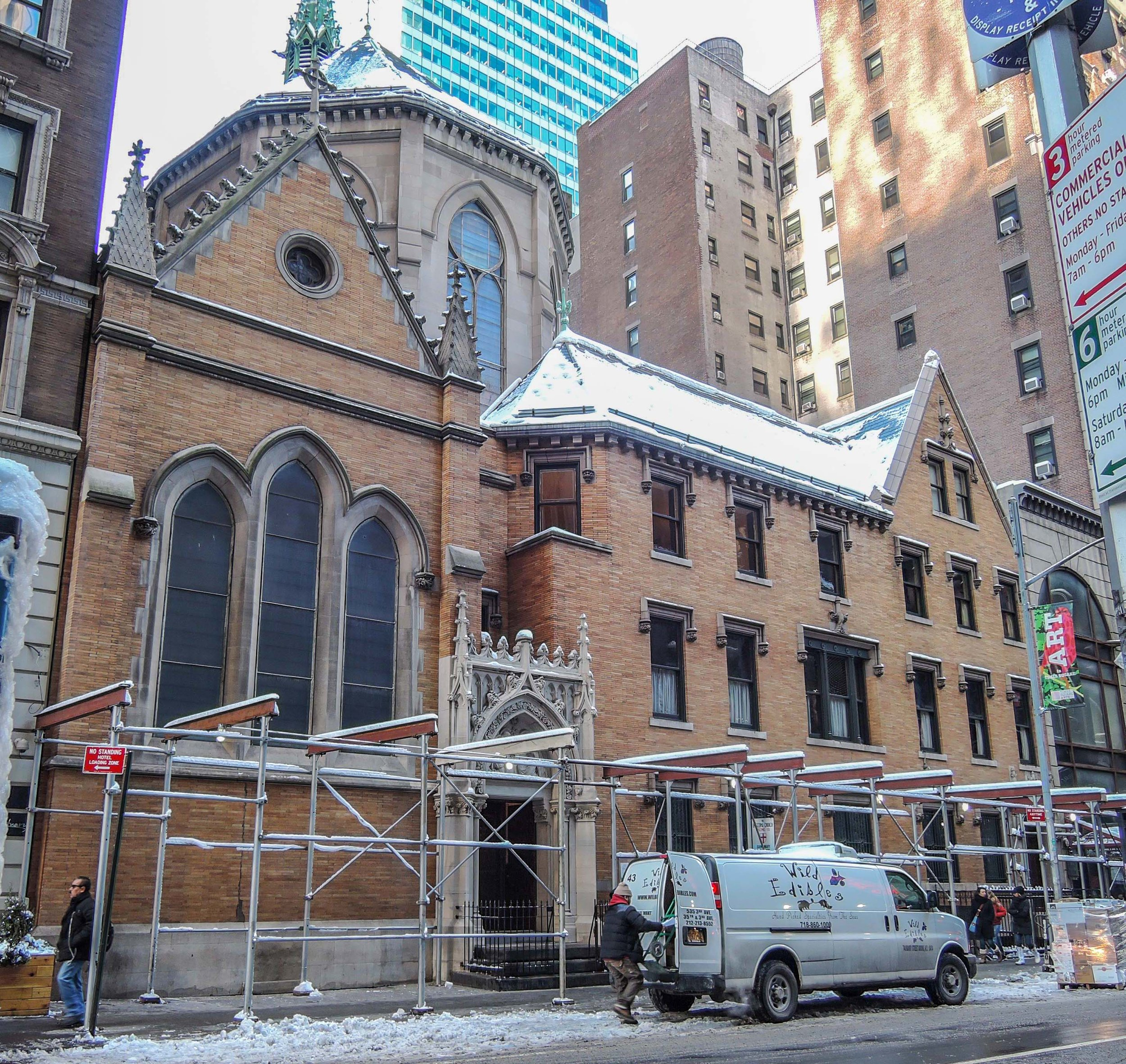 A snowstorm on Thursday, February 9, has postponed the removal of the last of the scaffolding on West 47th Street    until next week.