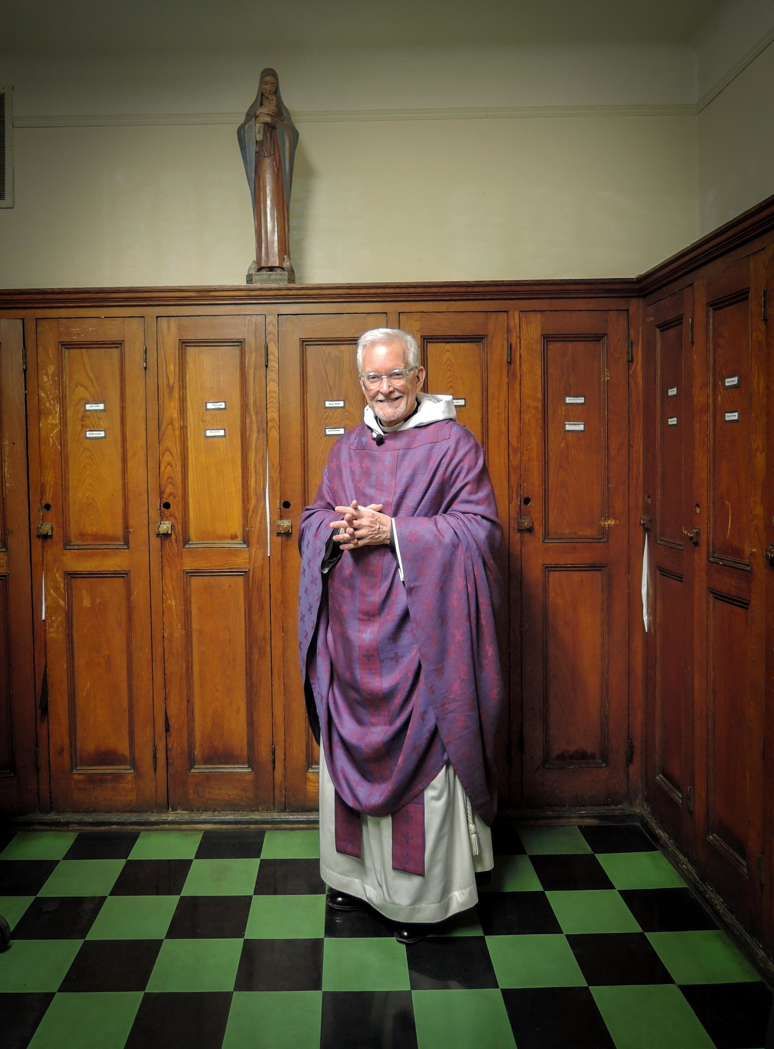 Father Pace before the  7:00 AM Mass.