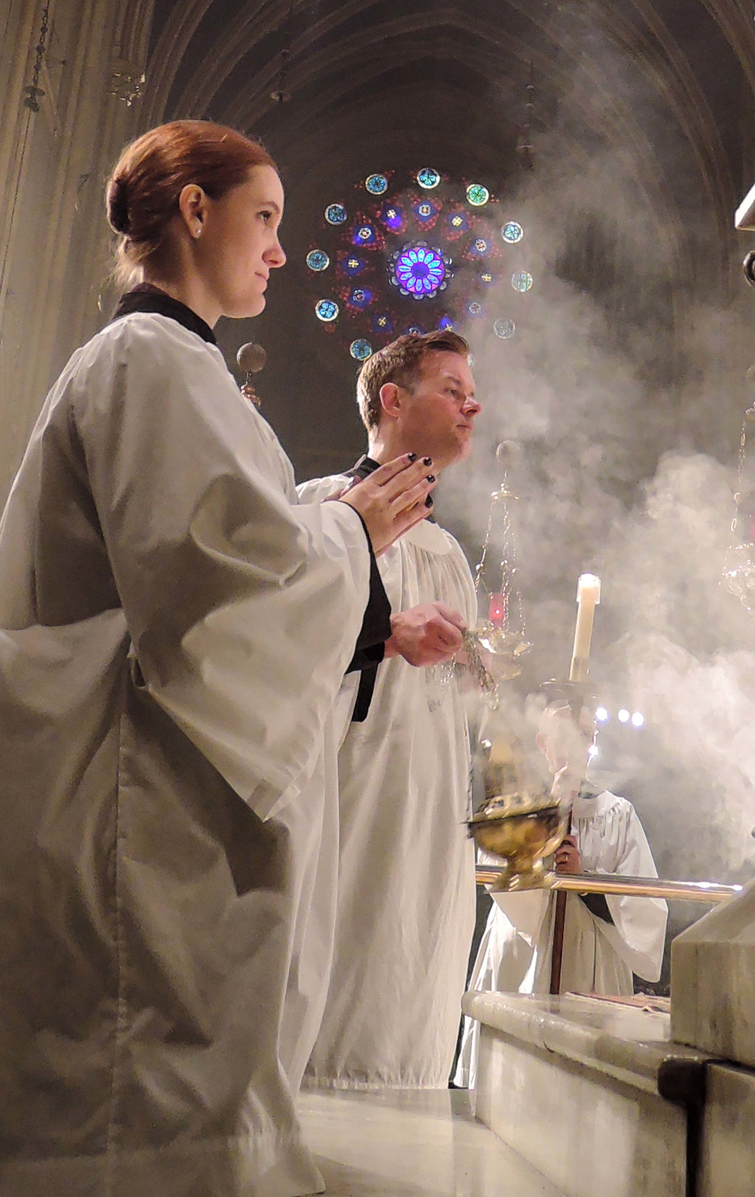 Grace Mudd and Clark Mitchell during Solemn Mass last Sunday