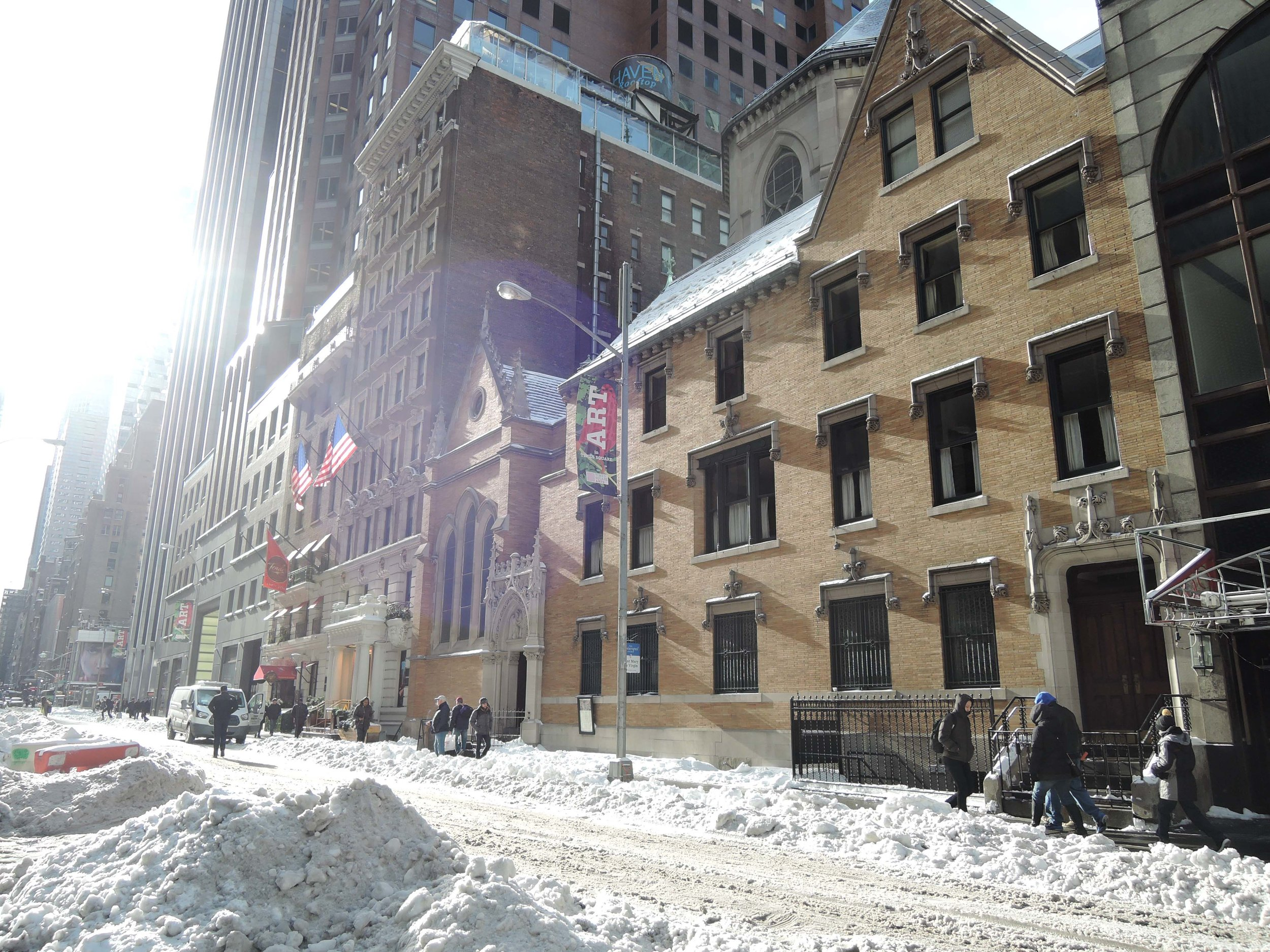 A snowy Forty-seventh Street after the storm
